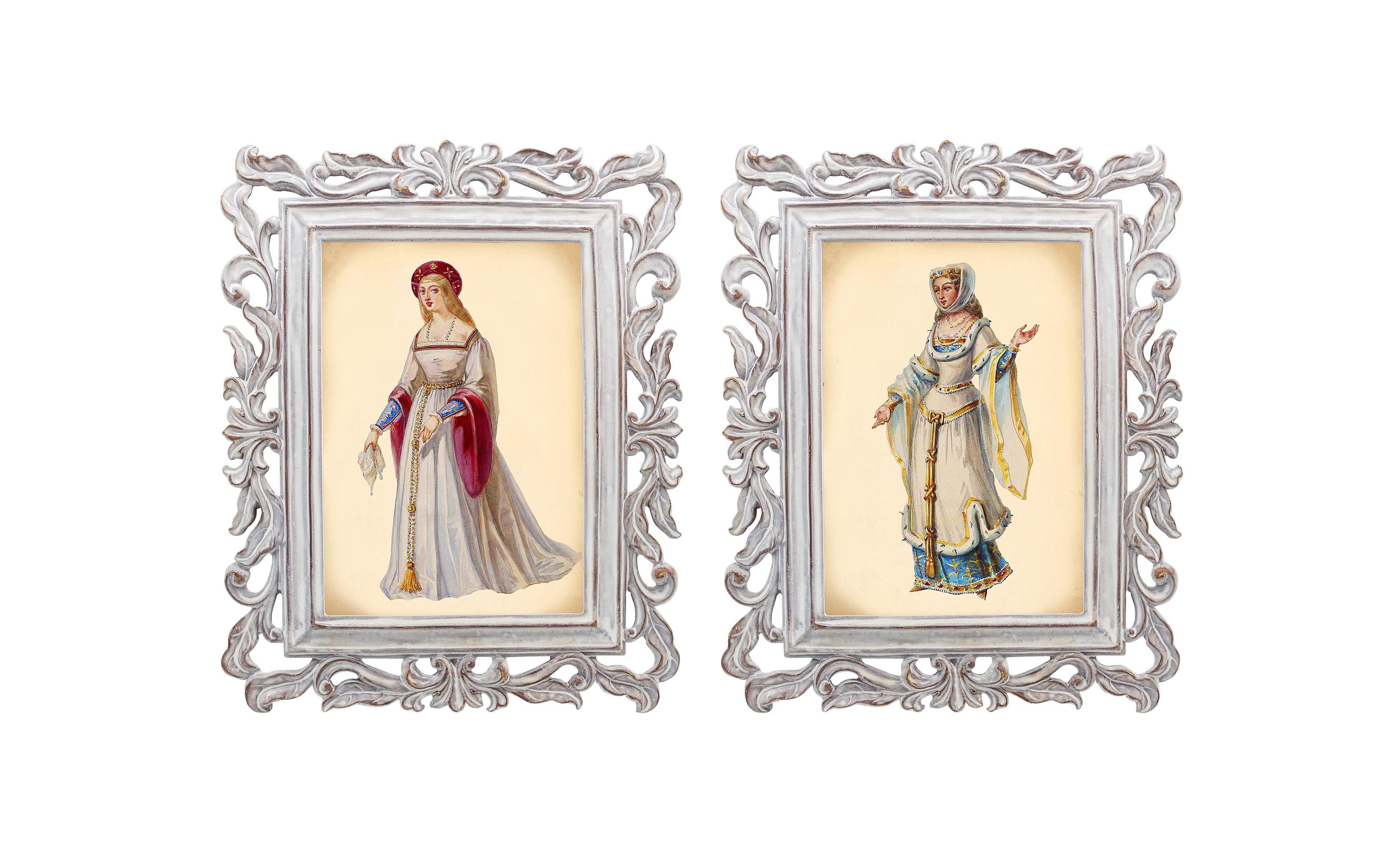 Набор из двух репродукций Агата и Бурлеск 8Картины<br>В моде викторианской эпохи достигалась гармония между женской хрупкостью и неприступной гордостью. Репродукции старинных картин из серии «Бурлеск» напоминают об этом времени богатства, роскоши и поистине королевского стиля. Это не только сентиментальное воспоминание о предметах и целых эпохах прошлого, — это еще и оригинальная деталь интерьера, которая поражает множеством элементов и эффектно смотрится в любом пространстве.<br><br>Material: Камень<br>Ширина см: 21<br>Высота см: 26<br>Глубина см: 1