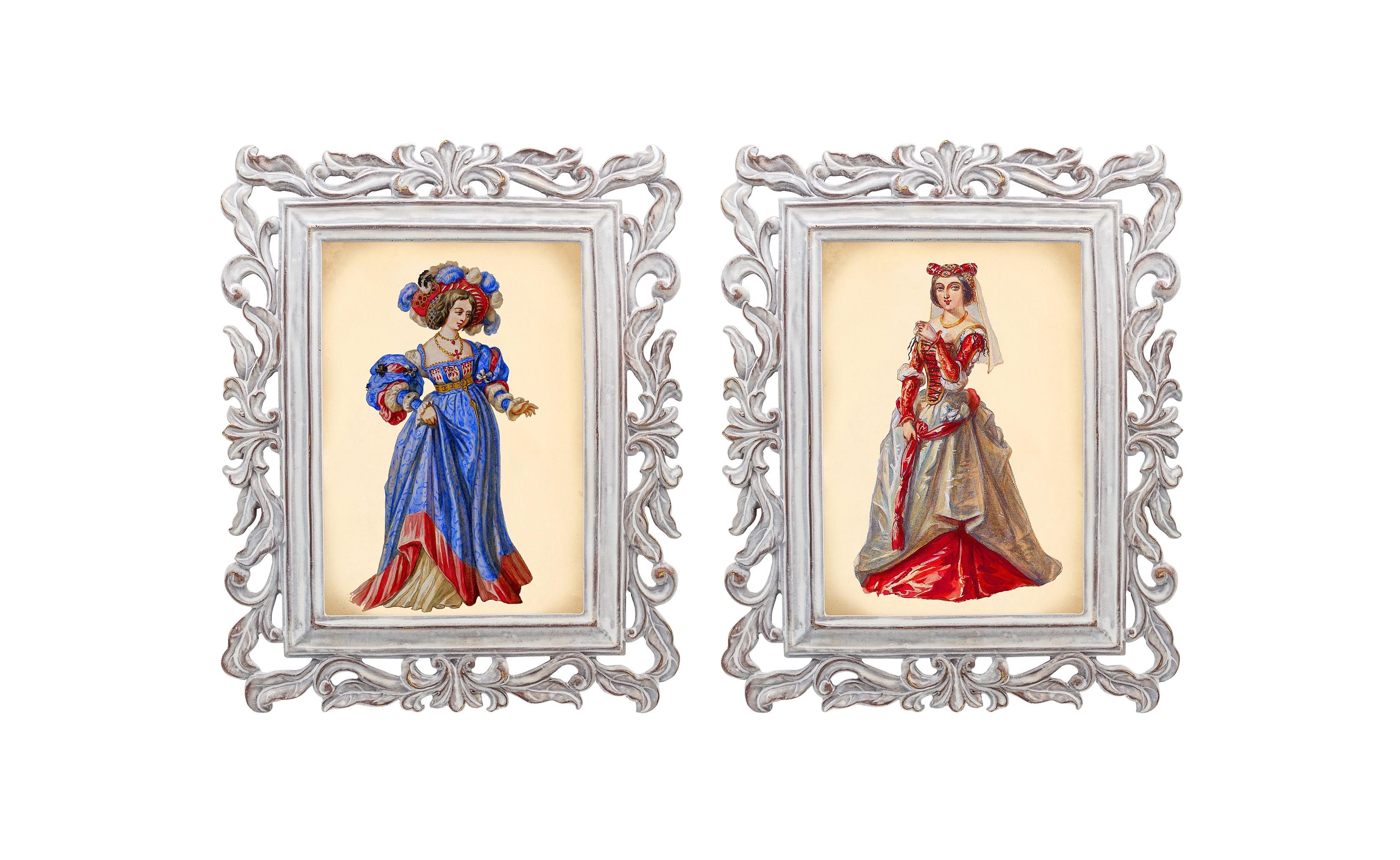 Набор из двух репродукций Агата и Бурлеск 5Картины<br>В моде викторианской эпохи достигалась гармония между женской хрупкостью и неприступной гордостью. Репродукции старинных картин из серии «Бурлеск» напоминают об этом времени богатства, роскоши и поистине королевского стиля. Это не только сентиментальное воспоминание о предметах и целых эпохах прошлого, — это еще и оригинальная деталь интерьера, которая поражает множеством элементов и эффектно смотрится в любом пространстве.<br><br>Material: Камень<br>Ширина см: 21<br>Высота см: 26<br>Глубина см: 1