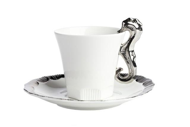 Чайная пара Marine Hoss SilverЧайные пары и чашки<br><br><br>Material: Фарфор<br>Height см: 9<br>Diameter см: 11