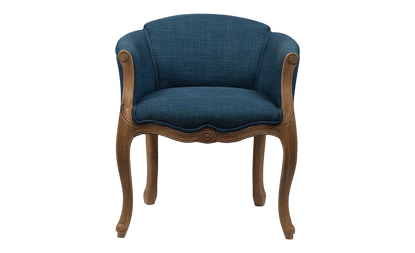 Кресло Cabriole ElizabethПолукресла<br>Созданное в модном старинном дизайне кресло Cabriole Elizabeth будет смотреться в вашем доме просто роскошно. Конструкция кресла создана из добротного дерева, что гарантирует его долгую эксплуатацию. Гнутые фигурные ножки и резьба по всему каркасу подчеркивают утонченность продукта. Для обивки использована особая синтетическая ткань  — полиэстер, которая отличается прочностью и долговечностью, и своей спокойной синей расцветкой располагает к отдыху. В качестве наполнителя использован мягкий упругий поролон, который не проваливается при длительном сидении.<br><br>Material: Дерево<br>Width см: 58<br>Depth см: 54<br>Height см: 66