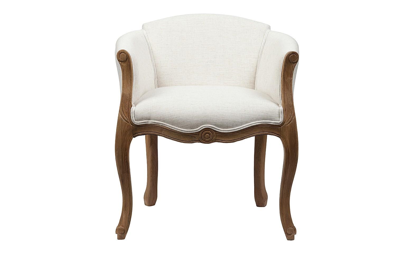 Кресло Cabriole ElizabethПолукресла<br>Созданное в модном старинном дизайне кресло Cabriole Elizabeth будет смотреться в вашем доме просто роскошно. Конструкция кресла создана из добротного дерева, что гарантирует его долгую эксплуатацию. Гнутые фигурные ножки и резьба по всему каркасу подчеркивают утонченность продукта. Для обивки использована особая синтетическая ткань  — полиэстер, которая отличается прочностью и долговечностью, и своей спокойной белой расцветкой располагает к отдыху. В качестве наполнителя использован мягкий упругий поролон, который не проваливается при длительном сидении.<br><br>Material: Дерево<br>Width см: 58<br>Depth см: 54<br>Height см: 66