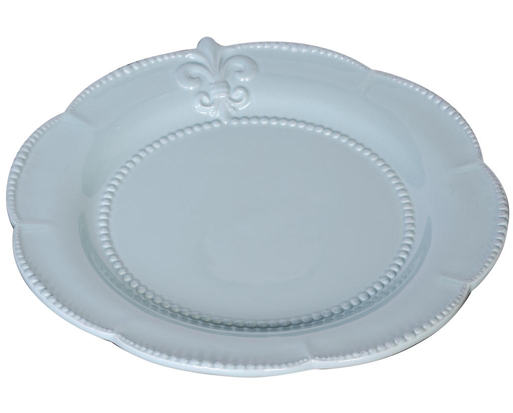 Блюдо TessДекоративные блюда<br>Изысканное блюдо голубого цвета Tess Blue изготовлено из грубой керамики и декорировано изображением геральдической лилии. Края блюда выполнены в виде лепестков. Блюдо станет украшением любого стола, сервированного к приему гостей или важному торжеству. Блюдо можно приобрести отдельно или в дополнение к другим предметам коллекции.<br><br>Material: Керамика<br>Width см: 35<br>Depth см: 35<br>Height см: 0.5<br>Diameter см: None