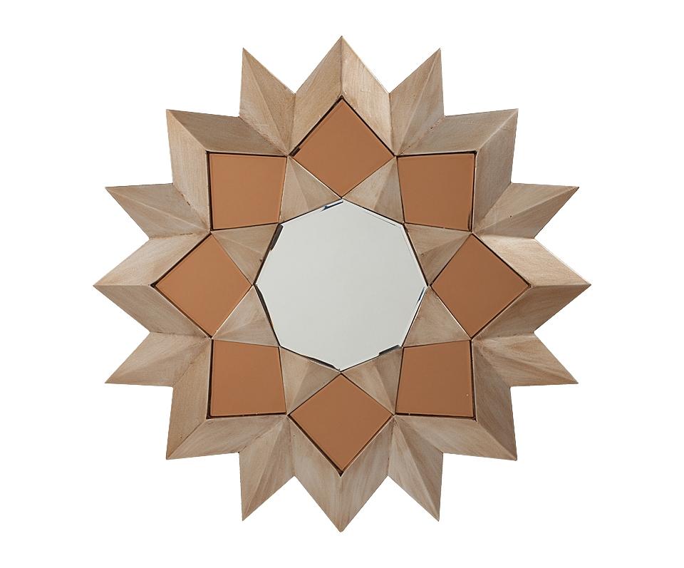 Зеркало-солнце SorpresaНастенные зеркала<br>В данном случае дизайнерам удалось создать зеркало с оригинальной формой оправы в виде солнца, которая легко вольётся в большинство интерьерных композиций. Внешняя оправа представляет собой МДФ, стилизированный под натуральное дерево, в центре шестигранное зеркало. Это зеркало будет отлично смотреться в любом помещении и его можно повесить на любой стене в вашем доме. Прекрасно будет смотреться в спальне или ванной комнате.<br><br>Material: МДФ<br>Width см: 80<br>Depth см: 1,2<br>Height см: 80