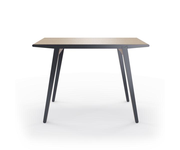 Стол M?nster?sОбеденные столы<br>Стол M?nster?s сочетает в себе формы футуристичных 60-х и естественность скандинавского дизайна. Окрас элементов стола в графитовый цвет. Сборка не требуется. Данный стол производится в 5 размерах.<br><br>Material: Фанера<br>Ширина см: 110<br>Высота см: 75<br>Глубина см: 60