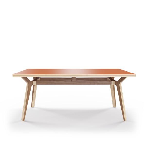 Стол Bor?sОбеденные столы<br>Стол Bor?s — прочная конструкция, которая станет связующим звеном совместного времяпрепровождения. Окрас столешницы в морковный цвет, отделка подстолья шпоном ореха. Сборка не требуется.<br><br>Material: Фанера<br>Width см: 180<br>Depth см: 80<br>Height см: 75