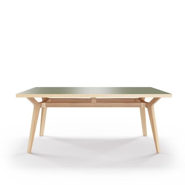 Стол Bor?sОбеденные столы<br>Стол Bor?s — прочная конструкция, которая станет связующим звеном совместного времяпрепровождения. Окрас столешницы в оливковый цвет, отделка подстолья шпоном дуба. Сборка не требуется.<br><br>Material: Фанера<br>Ширина см: 180.0<br>Высота см: 75.0<br>Глубина см: 80.0