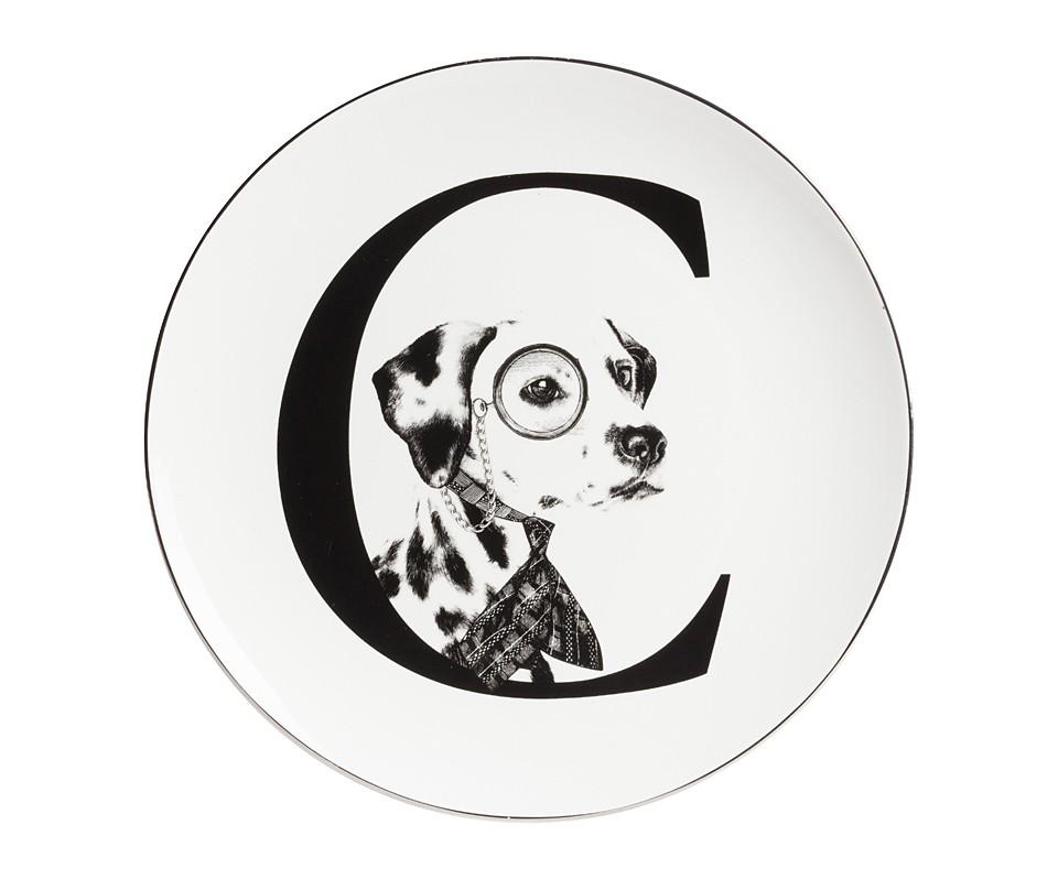Тарелка Alfabeto CДекоративные тарелки<br><br><br>Material: Фарфор<br>Depth см: 1<br>Diameter см: 25,4