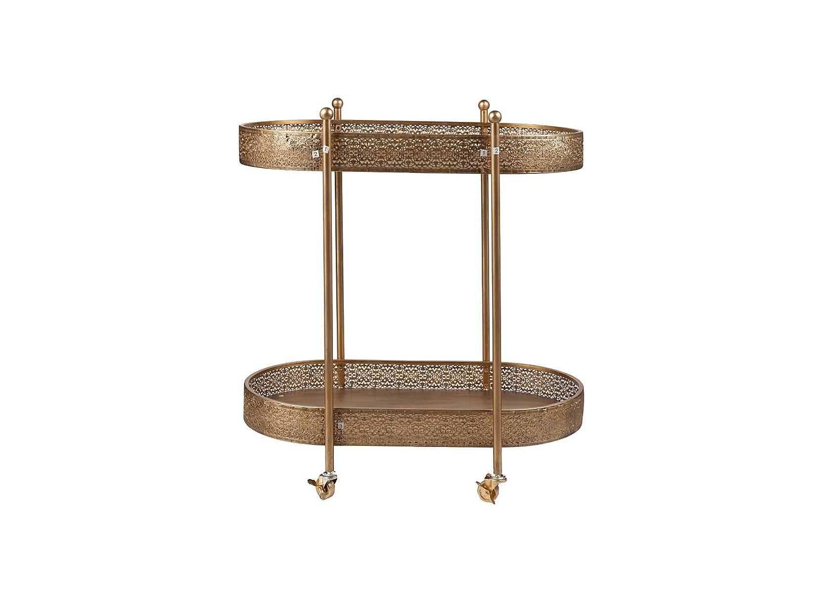 Сервировочный столик CleoСервировочные столики<br>Сервировочный столик Cleo на колёсиках — прекрасное решение для вашей кухни или столовой. Очень мобильный и функциональный, он станет незаменимым помощником хлебосольной хозяйки, это очень удобная вещь, поскольку  на нём можно перевозить еду и напитки. Эта мебель отлично подходит для любого интерьера и благодаря своей функциональности его особенно оценят ваши гости. А великолепный золотой цвет и тончайшее ажурное плетение будут притягивать их восхищенные взгляды.<br><br>Material: Металл<br>Width см: 91<br>Depth см: 51<br>Height см: 83
