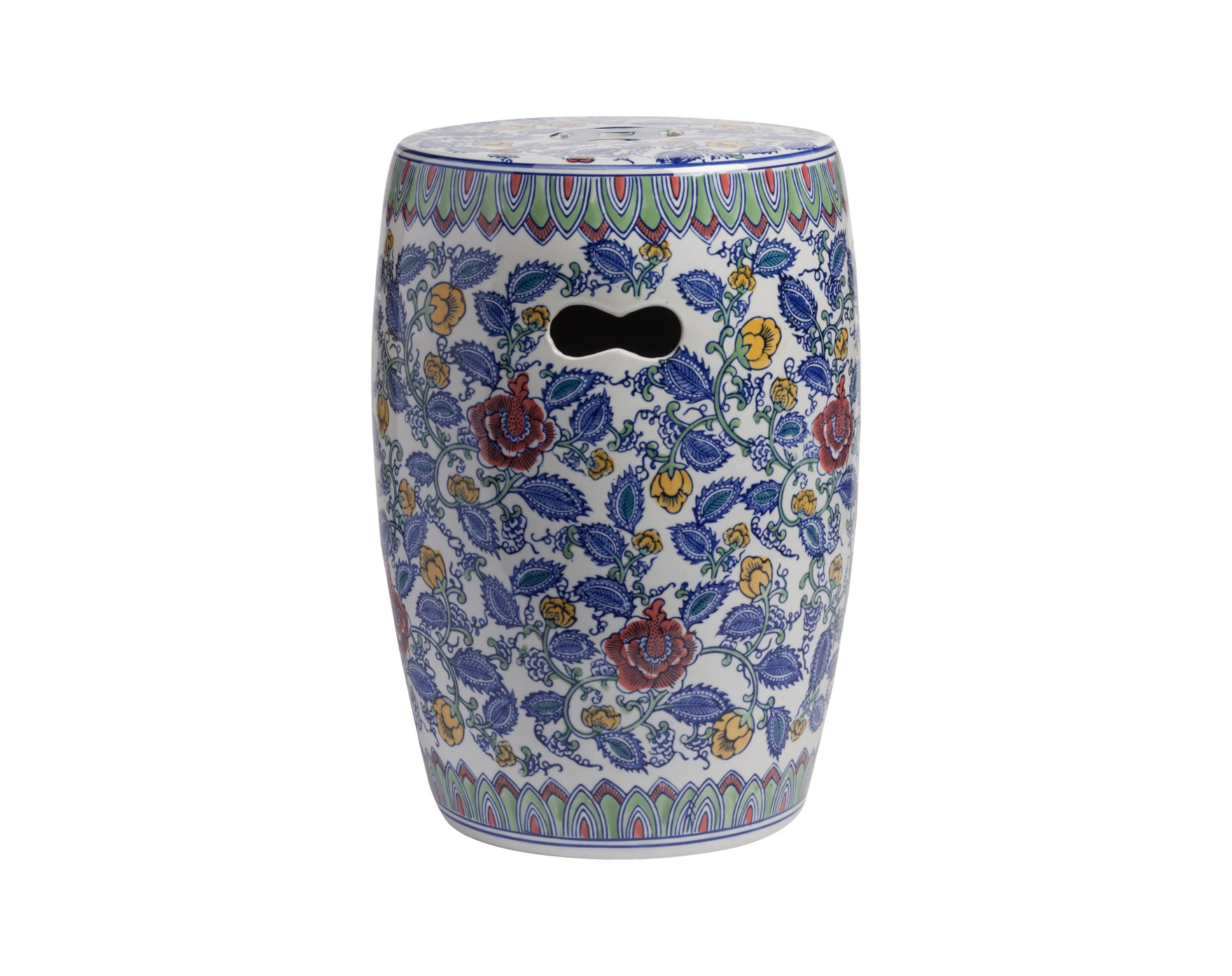 Керамический столик-табурет Garden Stool ErmitageТабуреты<br>Оригинальный керамический столик-табурет в форме бочонка в оригинальной расцветке восточных мотивов. По бокам предусмотрены небольшие отверстия для удобства его перемещения. Это предмет мебели, который сочетает в себе сразу две функции — его можно использовать и как стол, на который можно поставить чашку чая и положить газету, и как табурет, на который можно присесть. Все зависит только от вашего желания. Примечательно, что эта модель выполнена не из дерева, как следовало бы ожидать, а из грубой керамики, покрытой глазурью. Столик-табурет удачно подчеркнет колорит помещений в восточном стиле и добавит уюта в домашнюю обстановку..<br>Хотите больше приятных эмоций — купите столь необычный и яркий предмет для своего интерьера.<br><br>Material: Керамика<br>Width см: None<br>Depth см: None<br>Height см: 45<br>Diameter см: 33