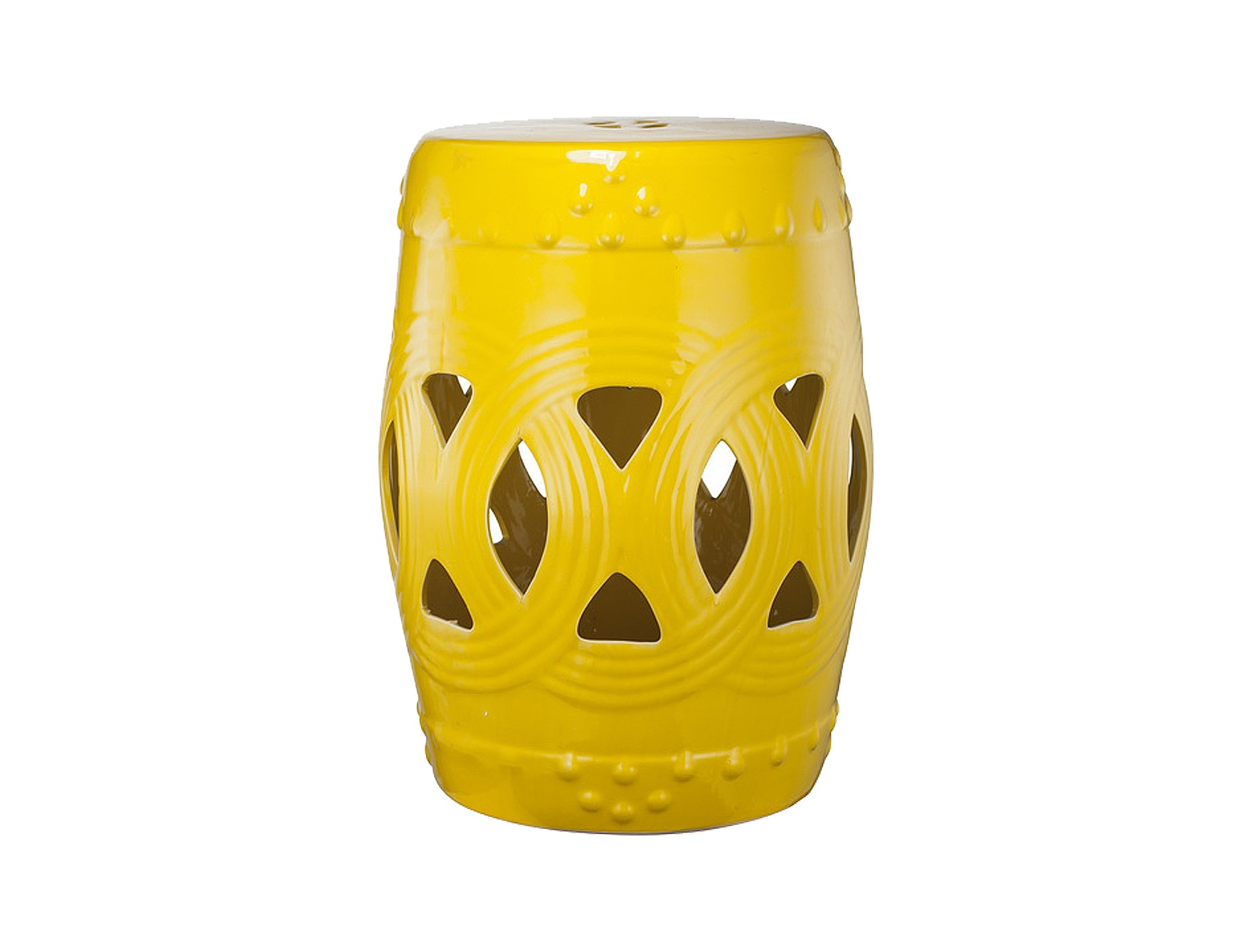 Керамический столик-табурет Fence Stool YellowТабуреты<br>Оригинальный керамический столик-табурет в форме бочонка. Ажурные прорези по поверхности визуально облегчают его внешний вид и придают изящество. Это предмет мебели, который сочетает в себе сразу две функции — его можно использовать и как стол, на который можно поставить чашку чая и положить газету, и как табурет, на который можно присесть. Все зависит только от вашего желания. Примечательно, что эта модель выполнена не из дерева, как следовало бы ожидать, а из грубой керамики, покрытой глазурью. Столик-табурет выполнен в ярком жёлтом цвете, будет удачно сочетаться с аналогичными предметами контрастных цветов.<br><br>Material: Керамика<br>Width см: None<br>Depth см: None<br>Height см: 47<br>Diameter см: 30