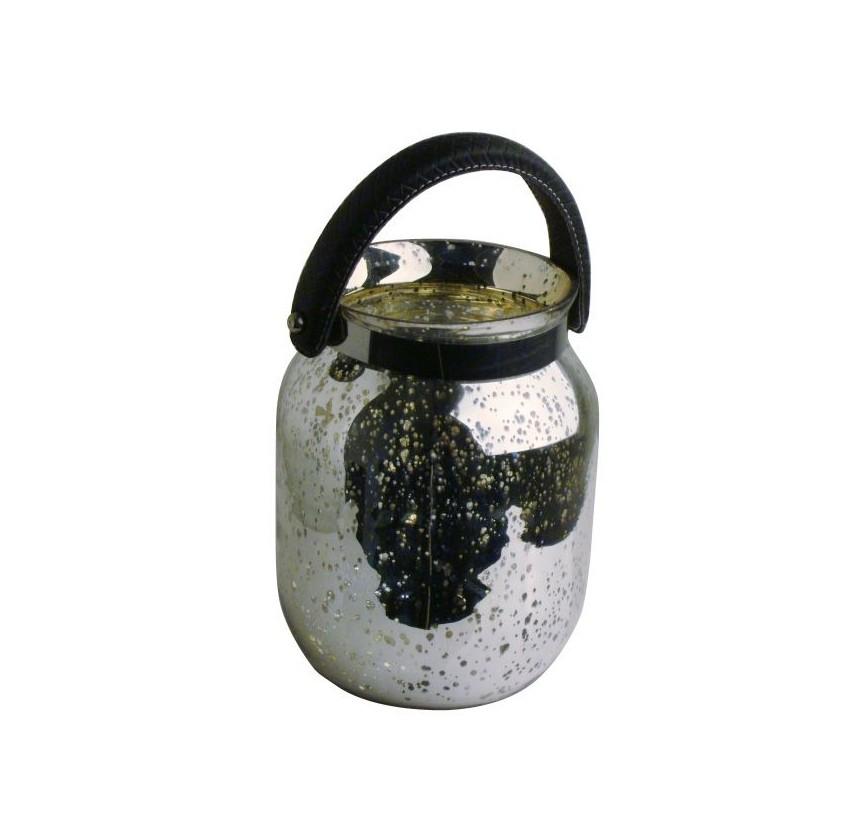 Подсвечник LanzaroteПодсвечники<br>Красивый стеклянный подсвечник серебрянного цвета в виде элегантного кашпо с ручкой. Сделайте дом уютнее вместе с декором от голландского бренда light &amp;amp;amp; living.<br><br>Material: Стекло<br>Height см: 33<br>Diameter см: 22