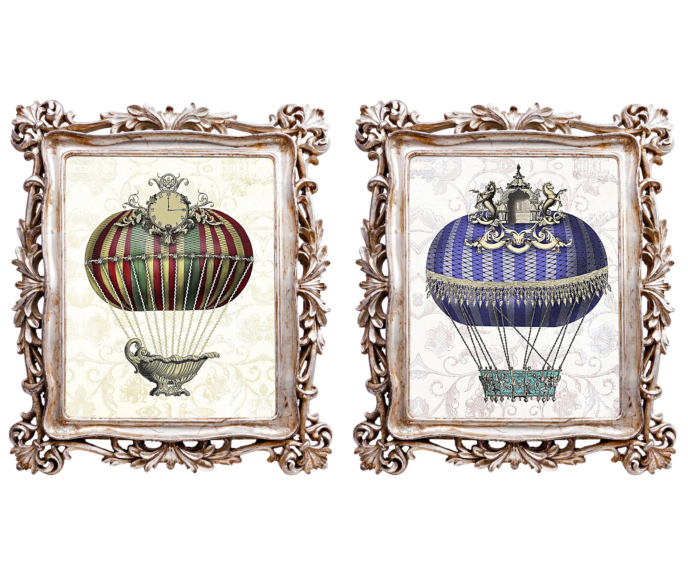 Набор из двух картин Арт-фантазия Монгольфьер версия 4Картины<br>Мода на воздушные шары, взлетевшая над миром во второй половине XVIII века, не проходит никогда. Ведь воздух и свобода, романтика и праздник - стиль жизни, парящий высоко за пределами моды. Рама снабжена удобными просторными скобами для вертикального и горизонтального крепления на стену. <br>Оборотная сторона рамы обита бархатным полиэстером, - в любом ракурсе рама выглядит роскошно. <br>Рамы, выполненные из полистоуна, неприхотливы в уходе. Этот материал прочен, легок, стоек к влаге и солнечному свету.<br><br>Material: Полистоун<br>Width см: 29,7<br>Depth см: 2,2<br>Height см: 34,7