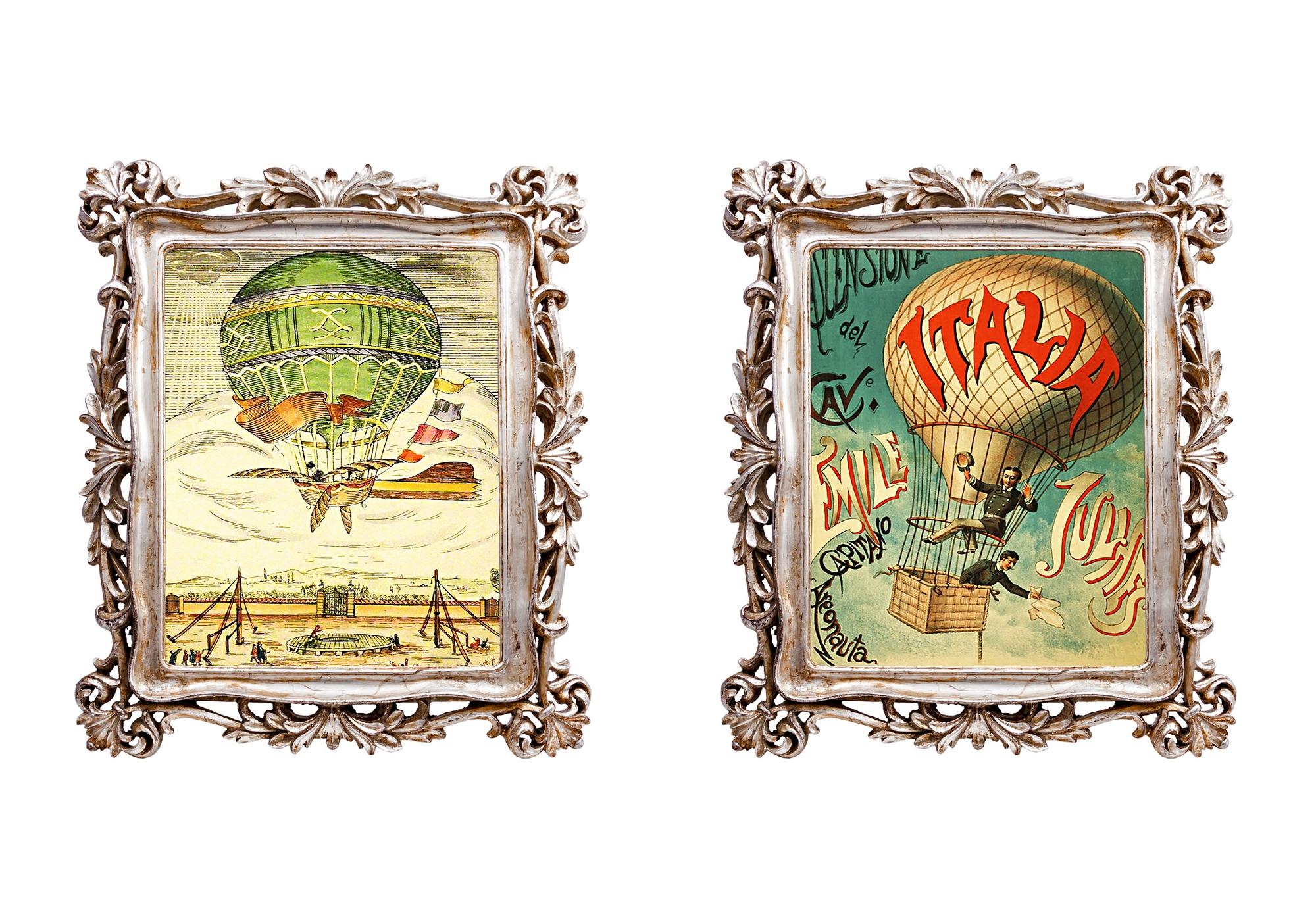 Набор из двух картин Арт-фантазия Монгольфьер версия 5Картины<br>Ворваться в невероятный сказочный мир, отправиться в увлекательное путешествие, окунуться в романтичную атмосферу... Всё это подвластно старинным картинам, вызывающим исключительно позитивные эмоции. Рама снабжена удобными просторными скобами для вертикального и горизонтального крепления на стену. <br>Оборотная сторона рамы обита бархатным полиэстером, - в любом ракурсе рама выглядит роскошно. <br>Рамы, выполненные из полистоуна, неприхотливы в уходе. Этот материал прочен, легок, стоек к влаге и солнечному свету.<br><br>Material: Полистоун<br>Width см: 29,7<br>Depth см: 2,2<br>Height см: 34,7