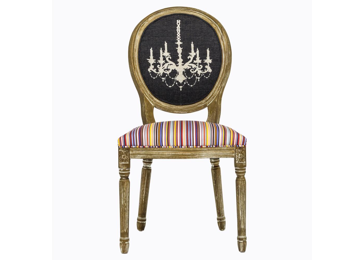 """Стул «Канделябр Страйп»Обеденные стулья<br>Мягкие, удобные и,  безусловно,  роскошные стулья &amp;quot;Канделябр Страйп&amp;quot; - яркий европейский экземпляр, который сформирует изысканное убранство Вашего дома с акцентом на блеск и благородство.<br>Дизайн стула «Канделябр Страйп&amp;quot; предназначен тем, кто видит стулья не бытовым предметом, а парадным интерьерным украшением, способным задать пространству стиль и достоинство. Обивка стула изготовлена из """"Тканей Солнца"""" французского дома Les Toiles du Soleil, - мирового лидера производства интерьерных тканей. Искусное патинирование - не только дань винтажной моде, но и справедливый намек на исключительную долговечность мебели из натурального дуба.<br>Мягкость, комфортабельность и долговечность сидения обеспечены внутренней подвеской из эластичных ремней.&amp;lt;div&amp;gt;&amp;lt;br&amp;gt;&amp;lt;/div&amp;gt;&amp;lt;div&amp;gt;Вес стула 7 кг<br>&amp;lt;/div&amp;gt;<br><br>Material: Дерево<br>Width см: 50<br>Depth см: 58<br>Height см: 99"""