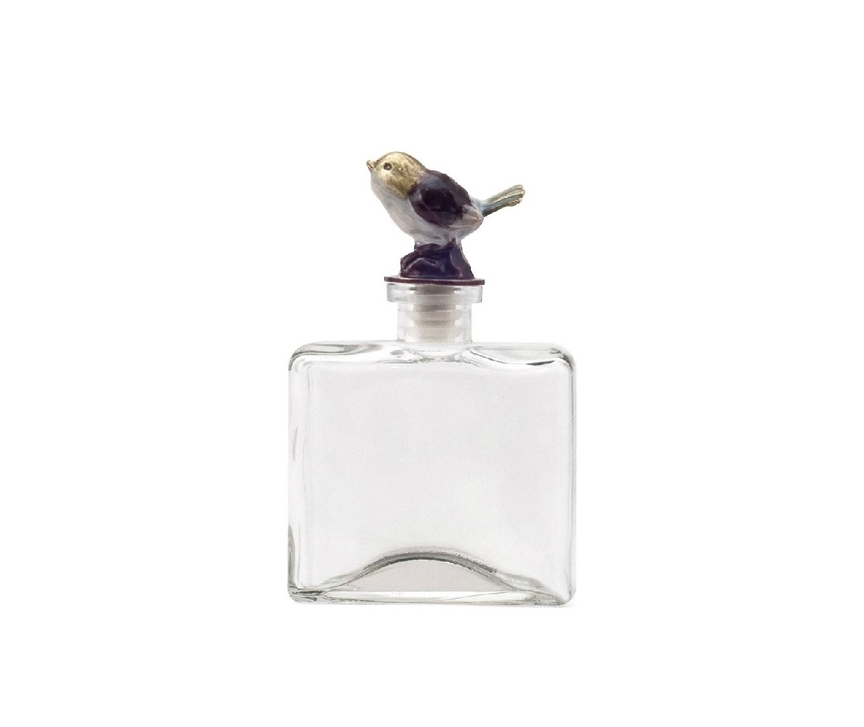 Стеклянный флакон Petit DeboleЕмкости для хранения<br>Изящный стеклянный флакон Petit Debole с симпатичной золотистой птичкой на крышечке придется по вкусу милым дамам, которые ценят красоту и роскошь в каждой детали интерьера. Элемент декора может украсить собой комнату в стиле Прованс, наполнить её домашним уютом, а также составить превосходный набор с аксессуарами той же коллекции — Petit Grande, Petit Solito и Petit Forte. Флакончики идеально подойдут для хранения в них вашего любимого парфюма.<br><br>Material: Стекло<br>Width см: 9.5<br>Depth см: 4.5<br>Height см: 15