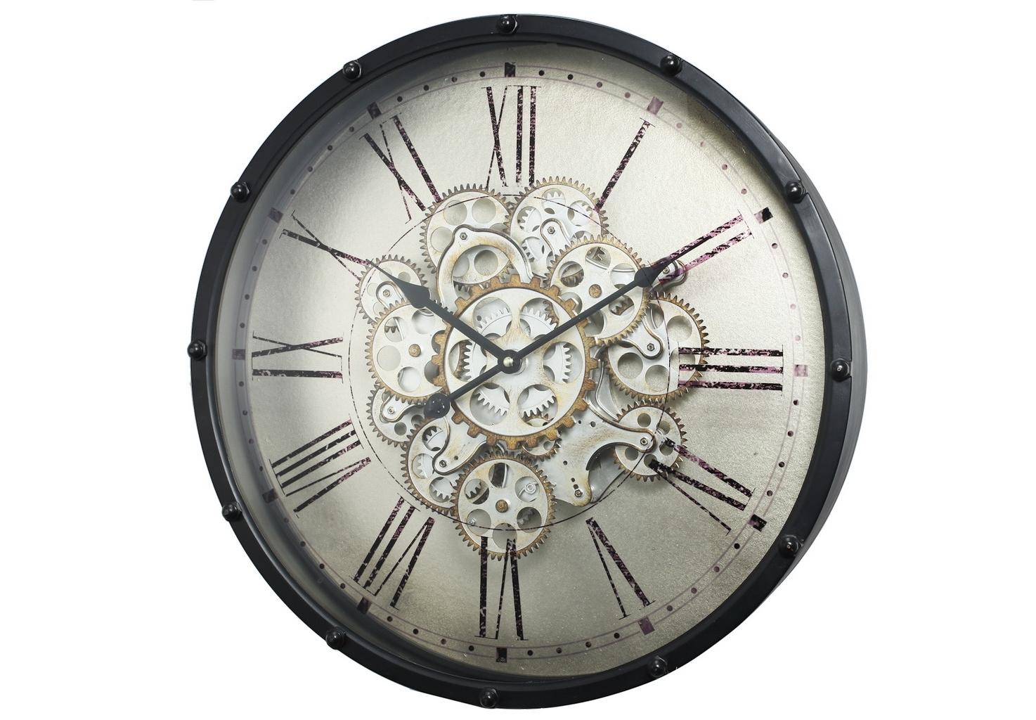 Часы настенныеНастенные часы<br>Часы настенные металлические, цвет черный матовый с серебристым. Система декоративных шестеренок рабочая, шестеренки вращаются, имитируя работу механических часов. Материал - металл, пластик. Источник питания - 3 батарейки типа АА 1,5В. Для часов и декоративной системы шестеренок используются отдельные блоки питания.&amp;amp;nbsp;&amp;lt;span style=&amp;quot;line-height: 24.9999px;&amp;quot;&amp;gt;Вес 4,5 кг.&amp;amp;nbsp;&amp;lt;/span&amp;gt;&amp;lt;span style=&amp;quot;line-height: 24.9999px;&amp;quot;&amp;gt;Кварцевый механизм.&amp;lt;/span&amp;gt;<br><br>Material: Металл<br>Depth см: 11,5<br>Height см: None<br>Diameter см: 46