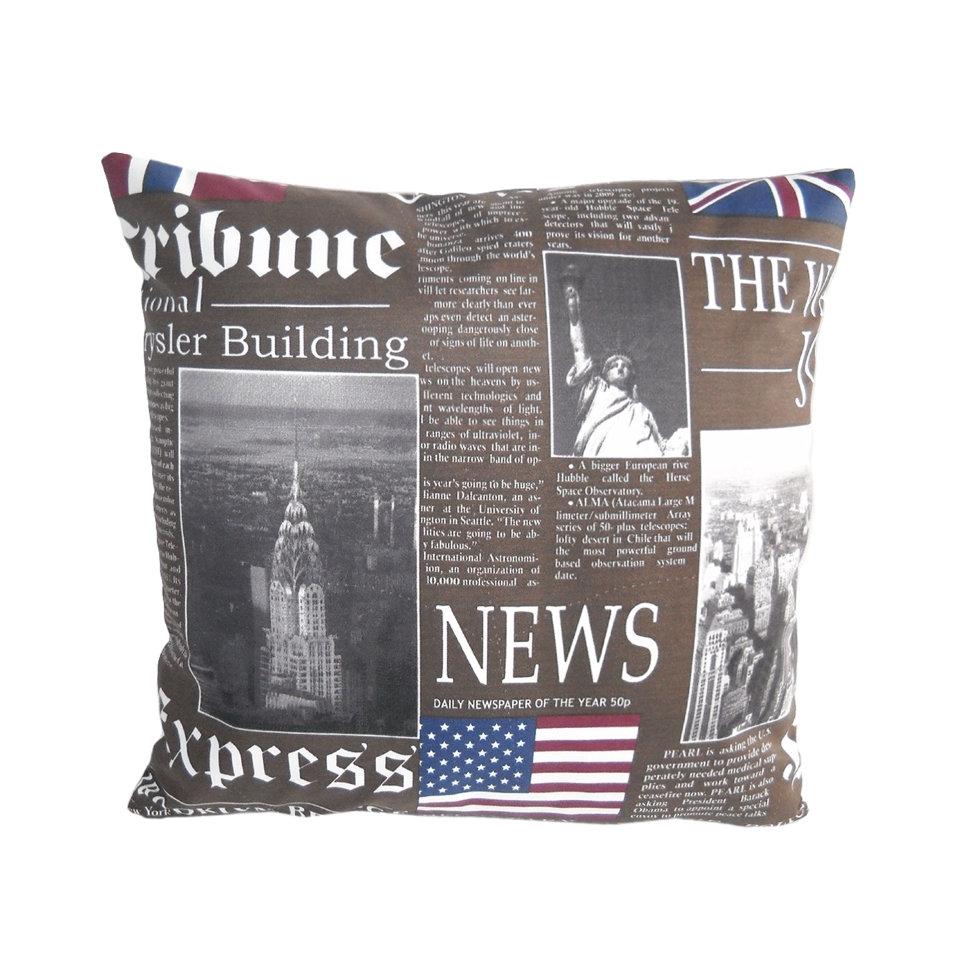 Декоративная подушка New York Times classicКвадратные подушки<br>Дизайнерская подушка-открытка, классической формы из коллекции Нью Йорк Таймс. Прекрасный выбор для гостиной или кабинета, для интерьеров в современном стиле и стиле арт-деко . Подушка сделана из испанской ткани - скотчгард (печатный хлопок).<br><br>Material: Хлопок<br>Width см: 45<br>Depth см: 18<br>Height см: 45