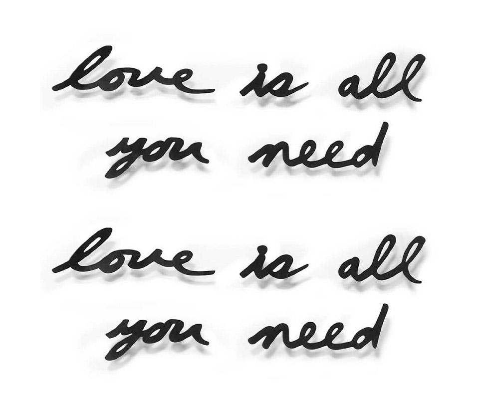 Надпись декоративная love is all you needДругое<br>Декоративная настенная надпись Love is all you need - это строчка из знаменитой песни The Beatles. Любовь - всё, что вам нужно, всё, что вам нужно - любовь. Не забывайте об этом: просто повесьте этот вдохновляющий декор на стену, пусть напоминает о самых важных и прекрасных чувствах.&amp;lt;div&amp;gt;&amp;lt;br&amp;gt;&amp;lt;/div&amp;gt;&amp;lt;div&amp;gt;Каждое слово крепится отдельно, так что можно расположить их на стене в произвольном порядке (крепеж в комплекте).&amp;lt;/div&amp;gt;<br><br>Material: Сталь<br>Width см: 33,3<br>Depth см: 5,1<br>Height см: 41,3