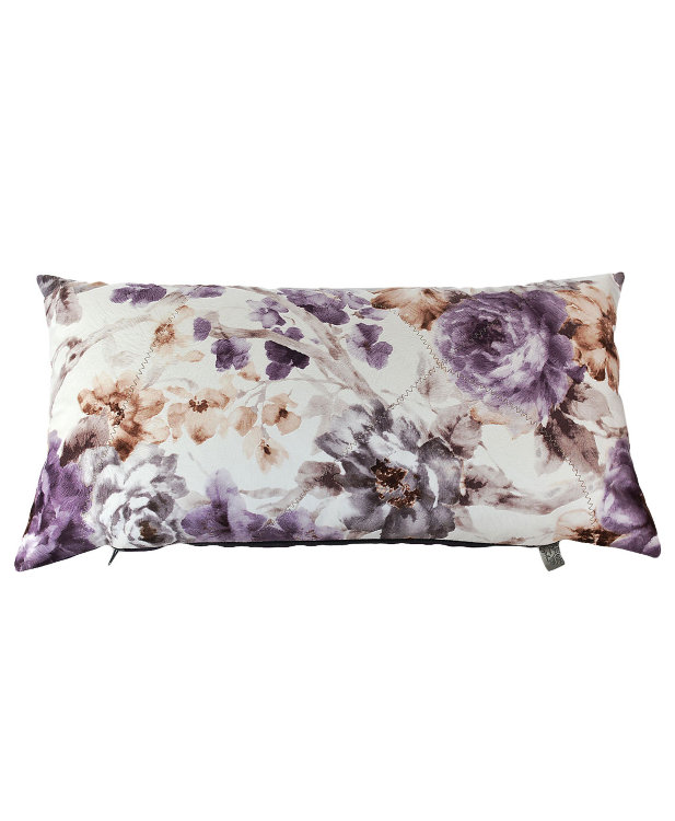Подушка декоративная Ноктюри с шелковой отстрочкой и фиолетовым компаньономПрямоугольные подушки и наволочки<br>Декоративная подушка прямоугольной формы, с цветочным рисунком и однотонным, мягкая, выполнена из велюра.<br><br>Material: Велюр<br>Width см: 60<br>Depth см: 15<br>Height см: 30