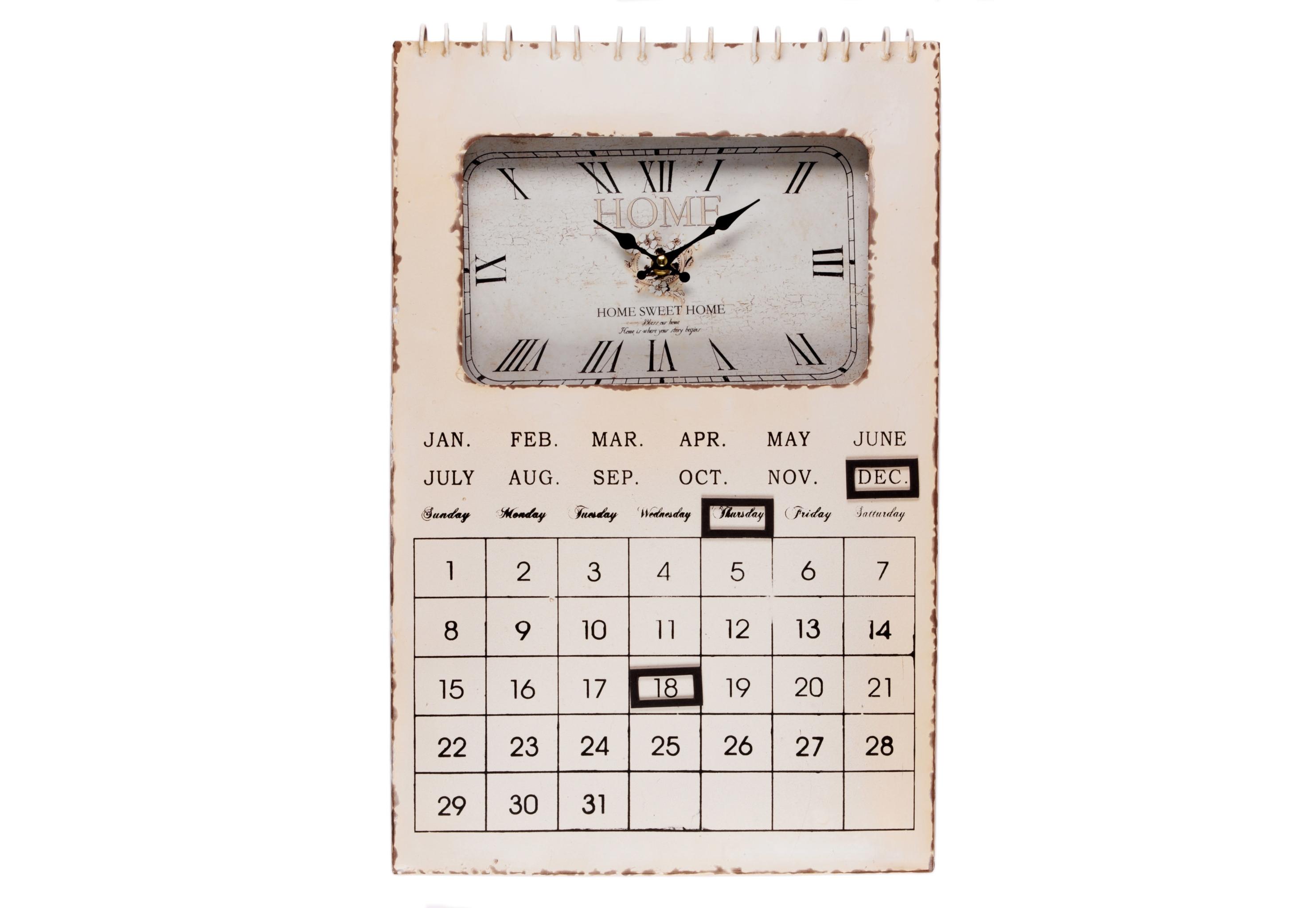 Настенные часы-календарь SavannahНастенные часы<br>Кварцевый механизм.<br><br>Material: Металл<br>Width см: 35<br>Depth см: 5<br>Height см: 54