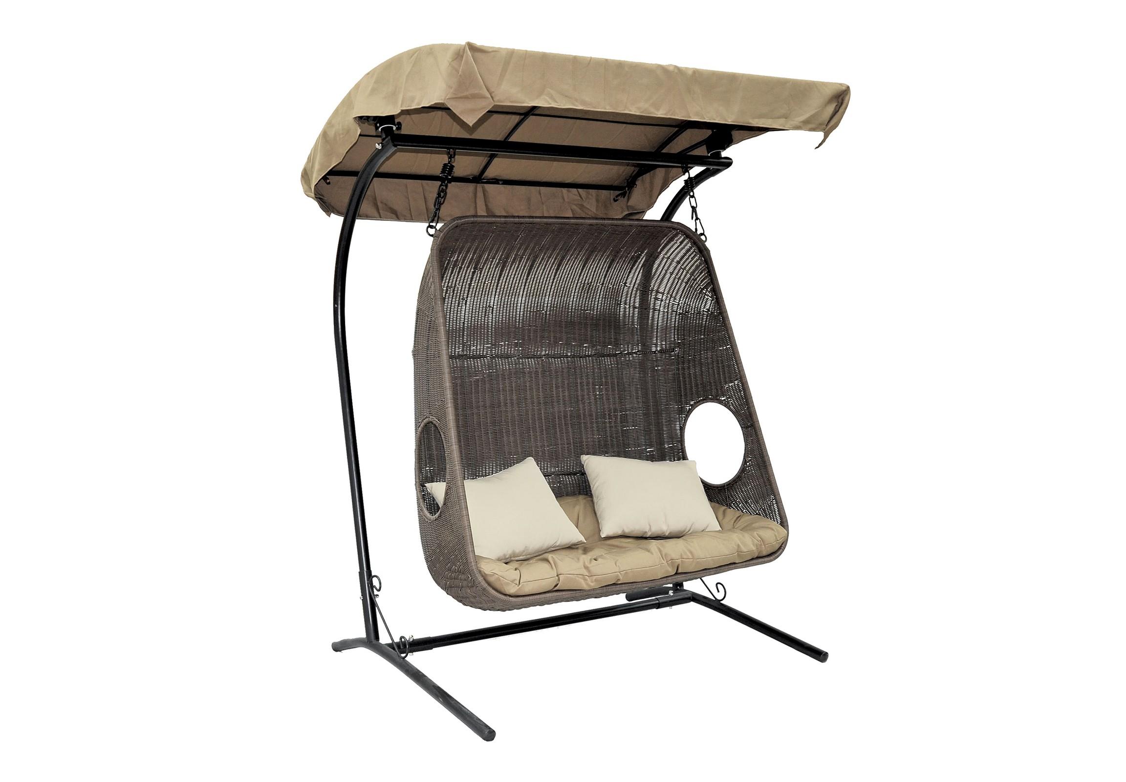 Кресло-качели для двоих CanopyКачели<br>Классическое кресло-качели для двоих.  Каркас опоры и самого кресла покрыт прочной, устойчивой к внешним воздействиям, порошковой краской. А мягкие подушки выполнены из водоотталкивающего материала. <br>Основа кресла выполнена из стали, благодаря чему подвесное кресло может выдерживать вес до 160 кг. Когда Вы сидите  в кресле, общая нагрузка приходится не на ажурное плетение, а именно на металлический каркас. &amp;amp;nbsp;&amp;lt;div&amp;gt;&amp;lt;br&amp;gt;&amp;lt;/div&amp;gt;&amp;lt;div&amp;gt;Материал каркаса: сталь&amp;amp;nbsp;&amp;lt;/div&amp;gt;&amp;lt;div&amp;gt;Материал: искусственный ротанг, круглый&amp;amp;nbsp;&amp;lt;/div&amp;gt;&amp;lt;div&amp;gt;Цвет опоры: черный&amp;amp;nbsp;&amp;lt;/div&amp;gt;&amp;lt;div&amp;gt;Цвет чаши: коричневый&amp;amp;nbsp;&amp;lt;/div&amp;gt;&amp;lt;div&amp;gt;Выдерживаемая нагрузка, кг: 160&amp;amp;nbsp;&amp;lt;/div&amp;gt;&amp;lt;div&amp;gt;Размер чаши: 129х56х126 см&amp;amp;nbsp;&amp;lt;/div&amp;gt;&amp;lt;div&amp;gt;Размер основания: 139х110х195 см&amp;lt;/div&amp;gt;<br><br>Material: Искусственный ротанг<br>Width см: 129<br>Depth см: 56<br>Height см: 126