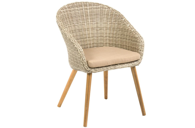 Плетеное кресло MiraКресла и стулья для дачного дома<br>Дизайн плетеного кресла Mira - это последняя тенденция в сфере садовой мебели. Сочетание искусственного ротанга и натуральной древесины (в данном случае акации) выглядит очень уютно и стильно.<br>Ножки кресла снимаются.<br><br>Material: Ротанг<br>Width см: 62<br>Depth см: 59<br>Height см: 85
