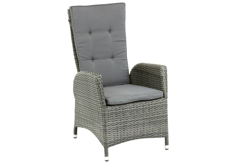 Кресло-реклайнер MenorcaКресла и стулья для дачного дома<br>Плетеное кресло Menorca отличается от других плетеных кресел тем, что имеет откидную спинку. Выполнено из искусственного ротанга серого цвета.<br><br>Material: Ротанг<br>Width см: 61<br>Depth см: 59<br>Height см: 111