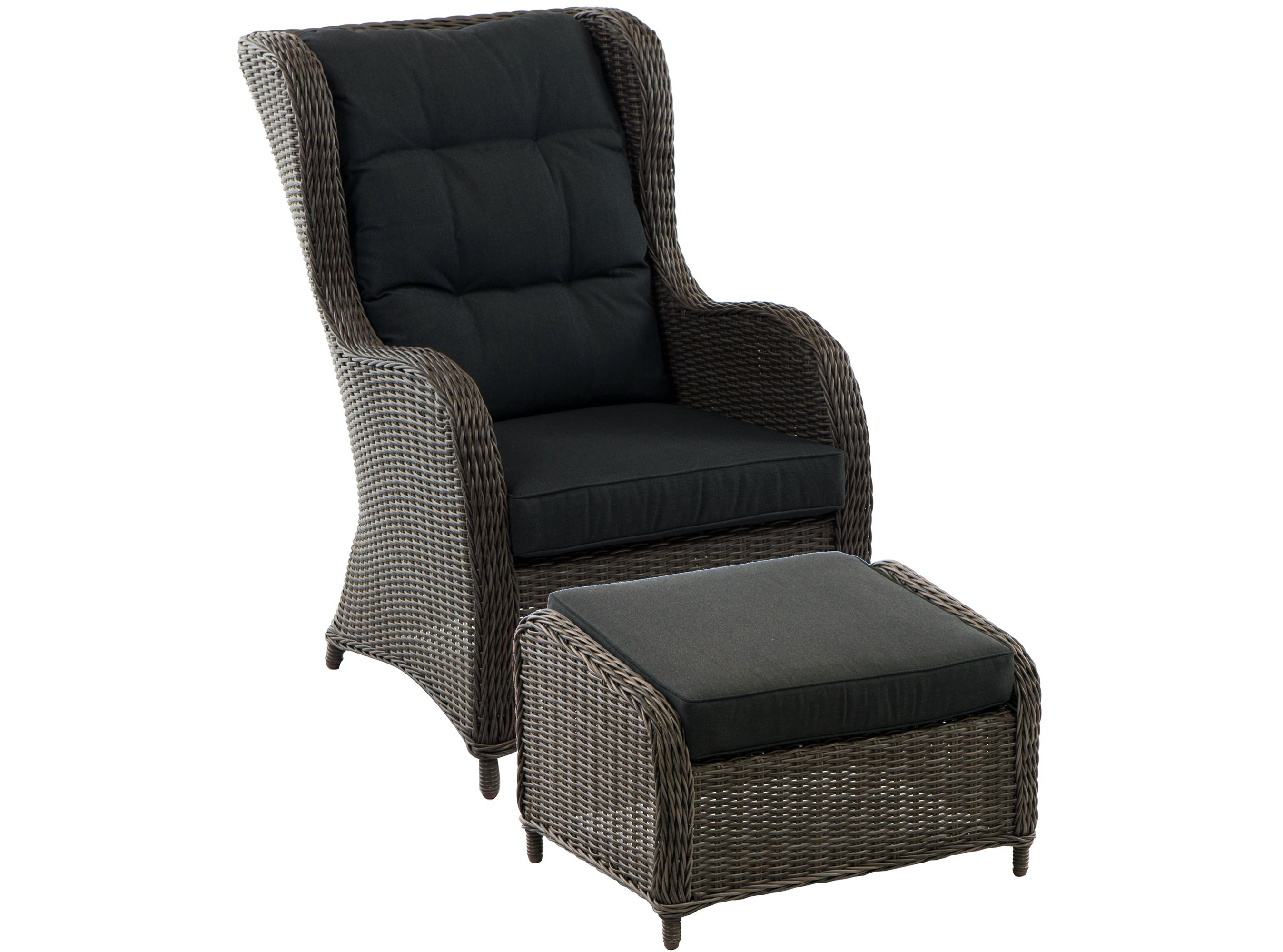 Кресло ArezzaКресла для сада<br>Arezza - это комплект, состоящий из плетеного кресла и пуфа. Не требуется сборка.<br>Каркас мебели алючиниевый, плетение из серого полукруглого искусственного ротанга.<br>Подушки включены в комплект.&amp;amp;nbsp;&amp;lt;div&amp;gt;&amp;lt;br&amp;gt;&amp;lt;/div&amp;gt;&amp;lt;div&amp;gt;Табурет:<br>Длина: 74 см<br>Ширина: 56 см<br>Высота: 48 см &amp;lt;/div&amp;gt;<br><br>Material: Искусственный ротанг<br>Width см: 74<br>Depth см: 74<br>Height см: 108