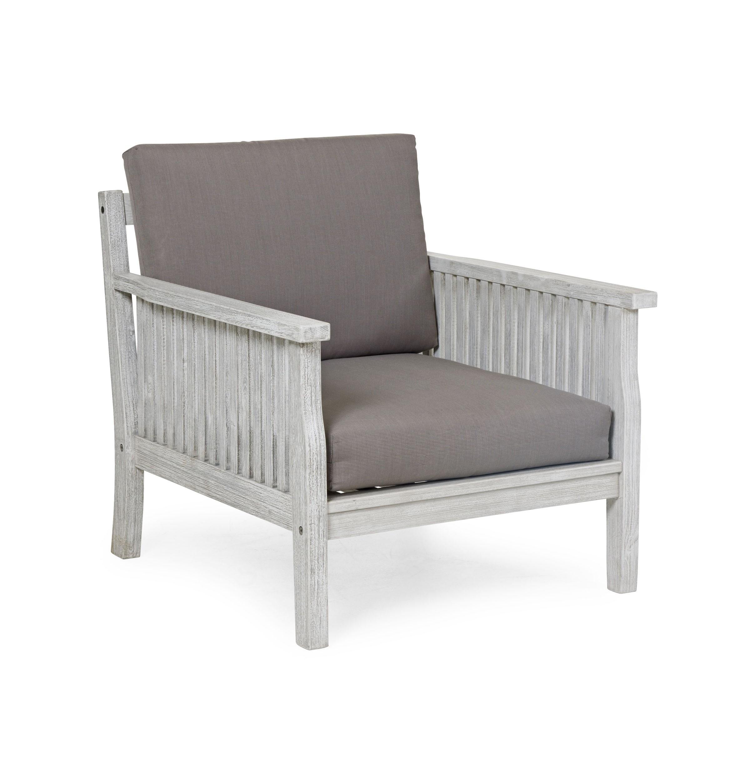 Кресло ArizonaКресла для сада<br>Кресло из коллекции Arizona  выполнено из массива акации, окрашенного в цвет &amp;quot;белый антик&amp;quot; - этот цвет имитирует эффект старины. Это удобное глубокое кресло, с которого Вам не захочется вставать. В комплект включены подушки серо-коричневого цвета. Требуется сборка.<br><br>Material: Акация<br>Length см: None<br>Width см: 74<br>Depth см: 77<br>Height см: 84
