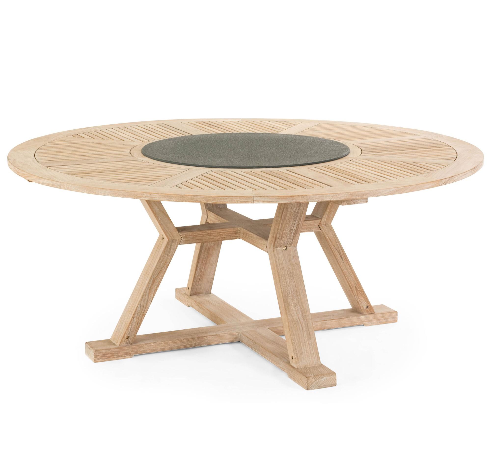 Стол CircusСтолы для улицы<br>Circus - круглый стол из массива тикового дерева. Древесина выполнена с имитированием восстановленного дерева. Стол смотрится очень солидно, а благодаря тому, что он выполнен в круглой форме и не имеет острых углов, за него вы сможете посадить большее количество людей. В комплект к столу прилагается подставка диаметром 80 см из искусственного камня черного цвета, она кладется на механизм в центре стола и вращается вокруг своей оси. Требуется сборка.<br><br>Material: Дерево<br>Height см: 75<br>Diameter см: 180