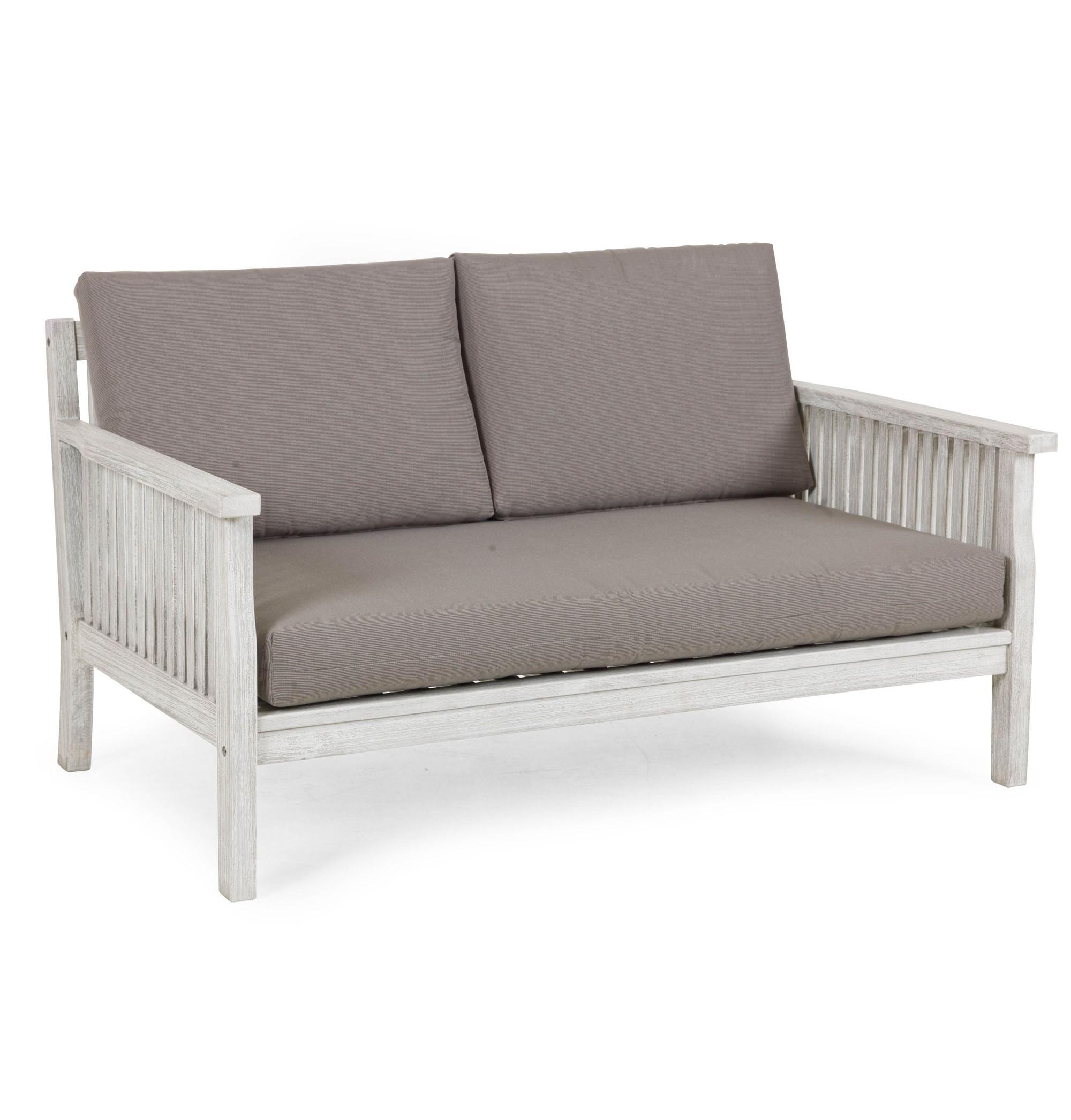 Диван ArizonaДиваны и оттоманки для сада<br>Диван из коллекции Arizona lounge выполнен из массива акации, окрашенного в цвет &amp;quot;белый антик&amp;quot; - этот цвет имитирует эффект старины. Это удобный глубокий диван, с которого Вам не захочется вставать. В комплект включены подушки серо-коричневого цвета. Требуется сборка.<br><br>Material: Дерево<br>Width см: 142<br>Depth см: 74<br>Height см: 84
