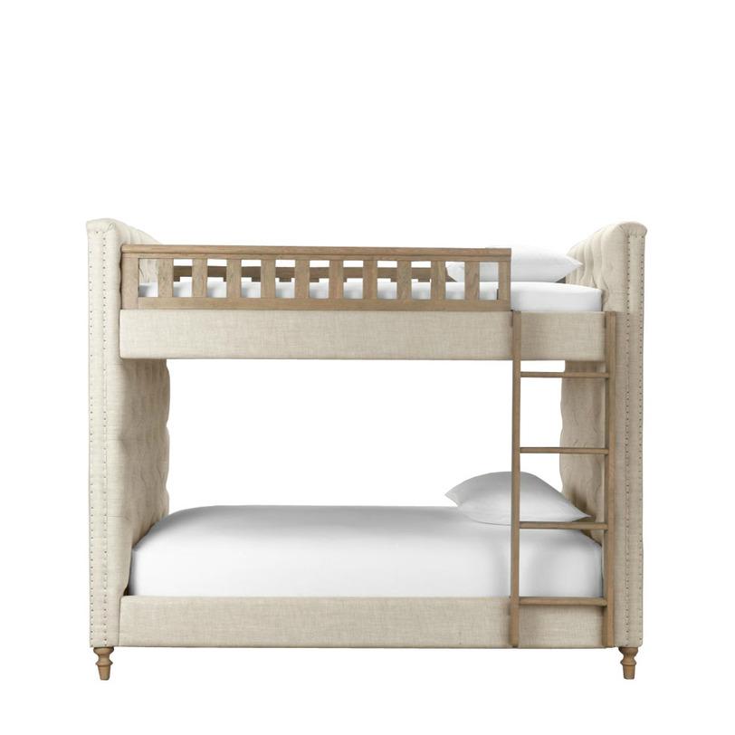 Кровать детская  TwinsДетские кроватки<br>Двухъярусная детская кровать для юных лордов или будущих королев. Надежная конструкция и экологически безопасные материалы – это само собой. Но в дополнение к надежности – поистине шикарная отделка: простежка «капитоне», декор обивочными гвоздиками – как на моделях у взрослых, резные ножки, выточенная загородка и дубовая лесенка. Модель, обитая натуральным льном, прекрасно впишется в светлую детскую.<br><br>Возможны расцветки ткани:<br>- светлый лен F01;<br><br>Material: Текстиль<br>Length см: 112<br>Width см: 216<br>Height см: 178