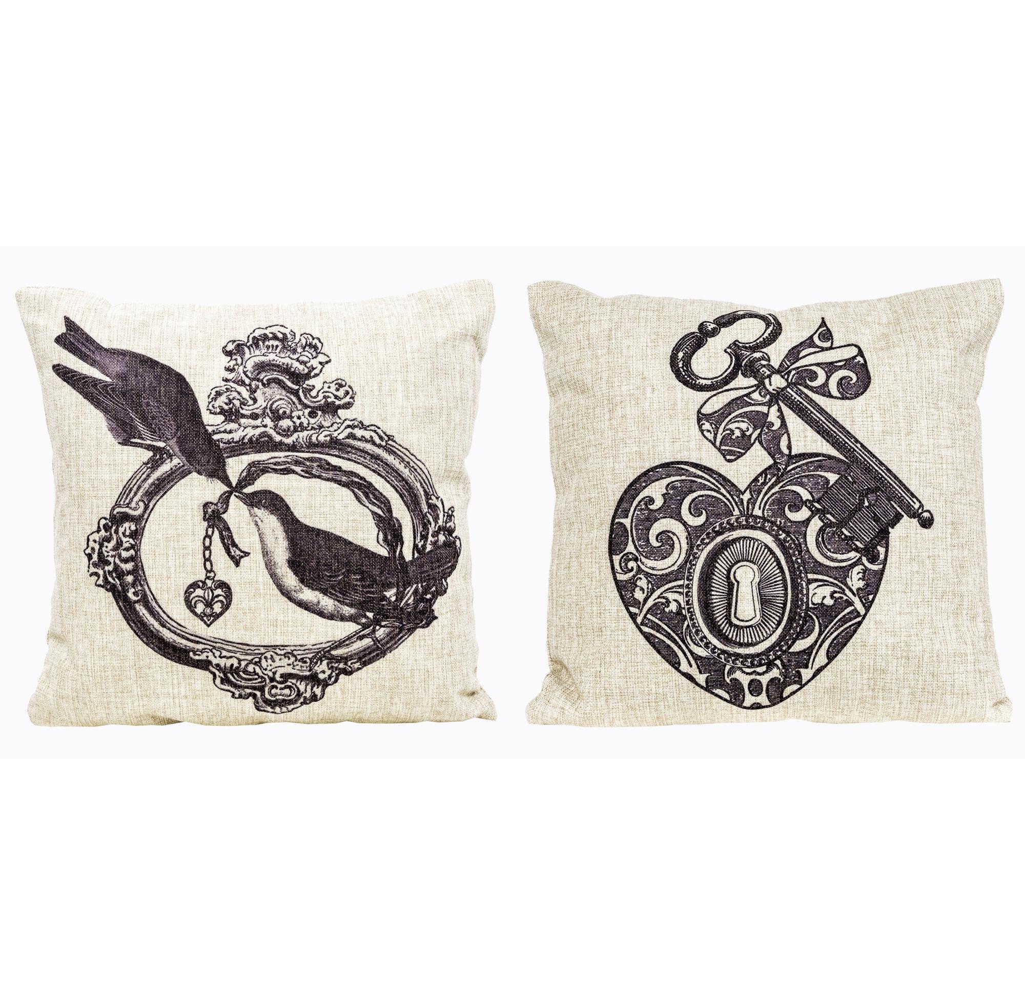 Набор из двух декоративных подушек Старинная гравюра, версия 1Квадратные подушки и наволочки<br>Декоративные  подушки «Старинная гравюра»  - небольшая, но значимая деталь интерьера, наполняющая его яркостью, теплом и изыском. Мягкие подушечки, как знак комфорта, уюта и гостеприимства, всегда желанны в гостиных, спальнях и холлах. Создайте же в своем доме сказочный уголок, - теперь у Вас есть всё необходимое.  Красота Вашей подушки зависит не только от изысканного рисунка, но и от настоящего качества ткани, сохраняющей подушке правильную аккуратную форму.<br><br>Material: Лен<br>Width см: 45<br>Height см: 45