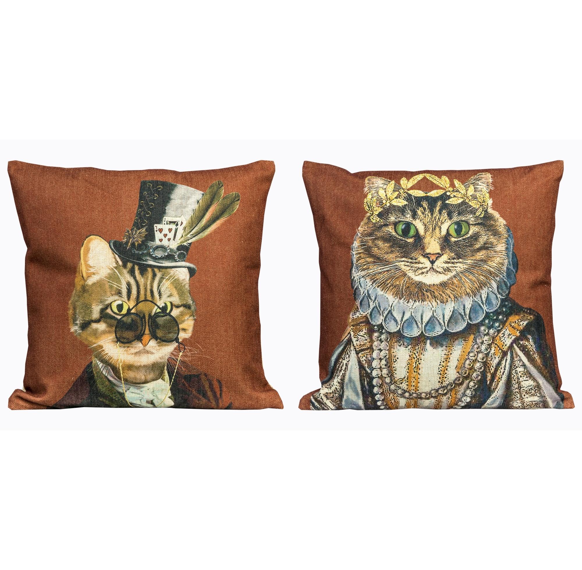 Набор из двух декоративных подушек Мистер Кот и мисс КошкаКвадратные подушки и наволочки<br>Набор декоративных подушек &amp;quot;Мистер Кот и мисс Кошка&amp;quot; - изделие коллекционное.  Каждый из рисунков выпущен лимитированным тиражом. <br>Среди аксессуаров подушка является едва ли не самым полезным, приятным, желанным приобретением. <br>Не скроем, что интерьерный комикс создан под впечатлением от сказок Льюиса Кэрролла.<br>Для детской комнаты декоративные подушечки с игрушечными персонажами - прямо-таки предмет первой необходимости.&amp;lt;div&amp;gt;&amp;lt;br&amp;gt;&amp;lt;/div&amp;gt;&amp;lt;div&amp;gt;Вес каждой из подушек 400г.<br>&amp;lt;/div&amp;gt;<br><br>Material: Лен<br>Ширина см: 45<br>Высота см: 45