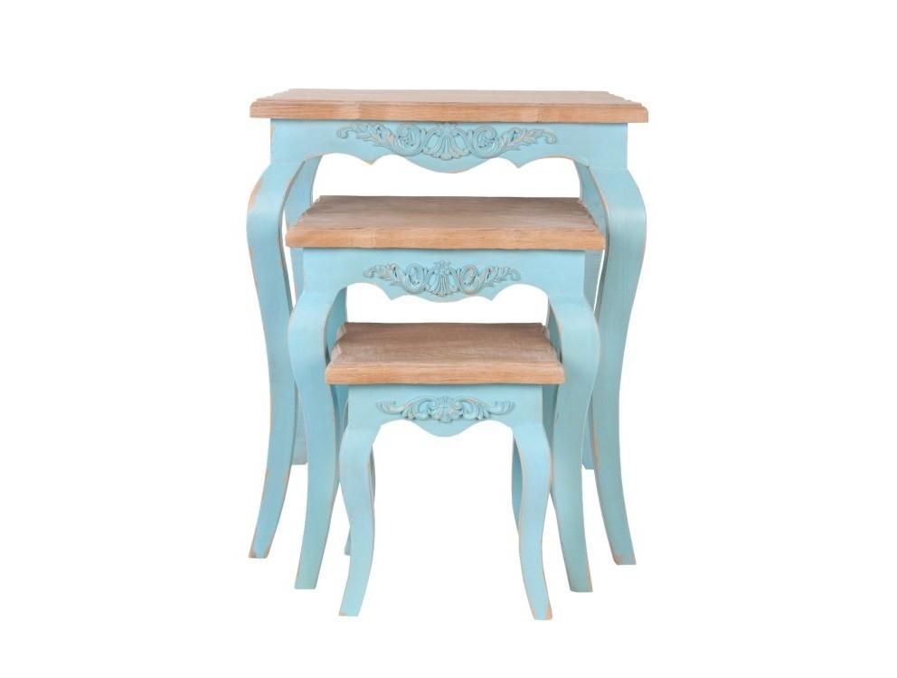 Комплект столиков kira (mak-interior) голубой 55x65x55 см. фото