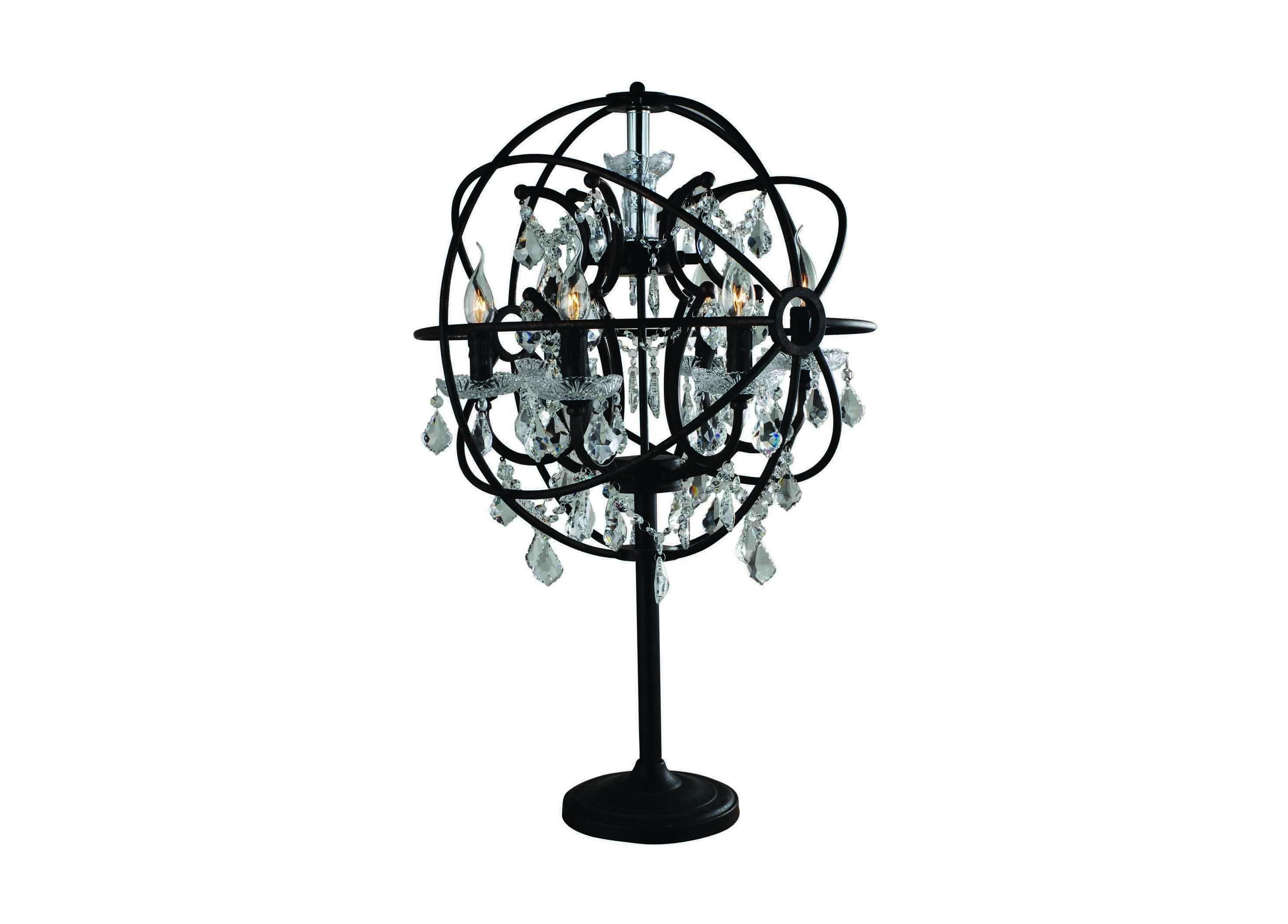Настольная лампа Foucaults Orb CrystalДекоративные лампы<br>Настольная лампа Foucault&amp;#39;s Orb Crystal-T истинный шедевр, который великолепно впишется в роскошные апартаменты и подчеркнет изысканность интерьера.&amp;amp;nbsp;Четкие очертания наружного кольца скрывают внутри себя изящные, каплеобразные подвески. Оригинальная и элегантная лампа добавит изюминки и ретро шарма атмосфере Вашего интерьера.&amp;lt;div&amp;gt;&amp;lt;br&amp;gt;&amp;lt;/div&amp;gt;&amp;lt;div&amp;gt;Материал: металл, кристаллы.&amp;lt;/div&amp;gt;&amp;lt;div&amp;gt;&amp;lt;div&amp;gt;Количество ламп: 6.&amp;lt;/div&amp;gt;&amp;lt;div&amp;gt;Тип цоколя: Е14.&amp;lt;/div&amp;gt;&amp;lt;/div&amp;gt;&amp;lt;div&amp;gt;Мощность: 25W.&amp;lt;br&amp;gt;&amp;lt;/div&amp;gt;<br><br>Material: Металл<br>Высота см: 83