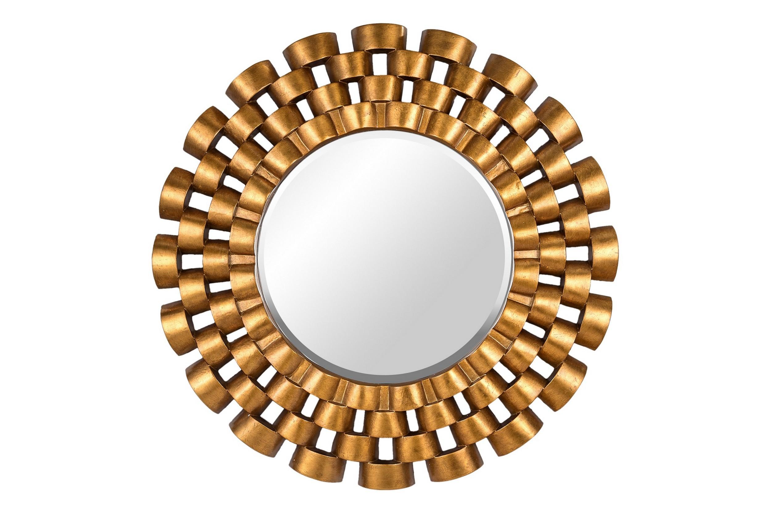 Зеркало Nexus GoldНастенные зеркала<br>Круглое зеркало в серебряной раме из полиуретана. Оригинальный дизайн рамы напоминает ремешок от классических мужских наручных часов, вызывая ассоциацию спокойствия и уверенности. Отличный вариант для прихожей и других помещений, оформленных в современном стиле.<br><br>Цвет: золотой Материал: полиуретан<br><br>Material: Стекло<br>Глубина см: 4.0
