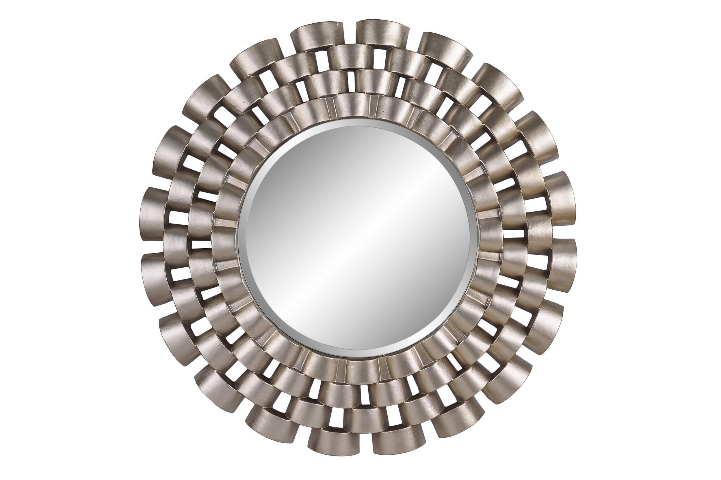 Зеркало Nexus SilverНастенные зеркала<br>Круглое зеркало в серебряной раме из полиуретана. Оригинальный дизайн рамы напоминает ремешок от классических мужских наручных часов, вызывая ассоциацию спокойствия и уверенности. Отличный вариант для прихожей и других помещений, оформленных в современном стиле.<br><br>Цвет: серебро<br>Материал: полиуретан<br><br>Material: Стекло<br>Length см: None<br>Width см: None<br>Depth см: None<br>Height см: None<br>Diameter см: 91.0