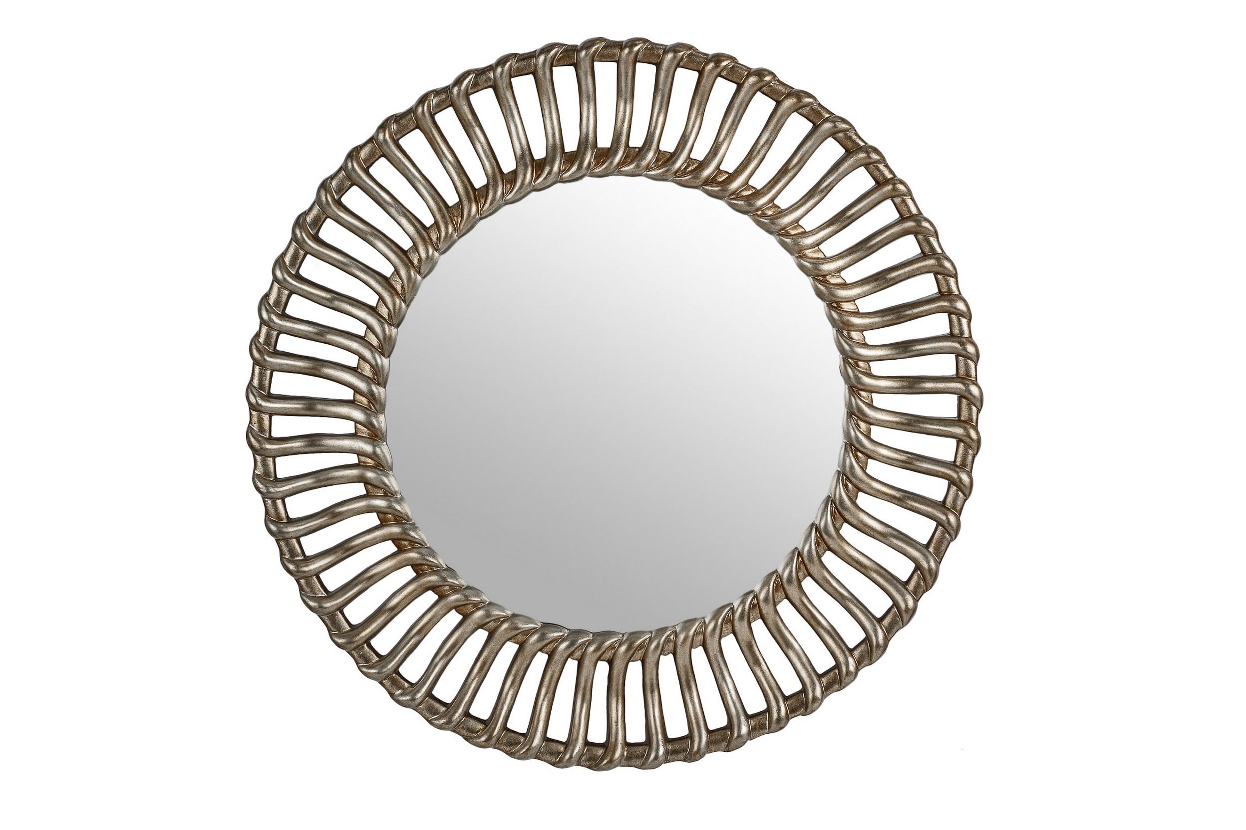 """Зеркало BraidНастенные зеркала<br>Большое - более метра в диаметре - зеркало в массивной раме теплого оттенка """"серебро шампань"""". Зеркало подойдет для интерьера гостиной, прихожей или спальни, оформленной в стиле ар-деко или эклектика.<br><br>Цвет: cеребро шампань<br>Материал: полиуретан<br><br>Material: Стекло<br>Length см: None<br>Width см: None<br>Depth см: None<br>Height см: None<br>Diameter см: 105.0"""