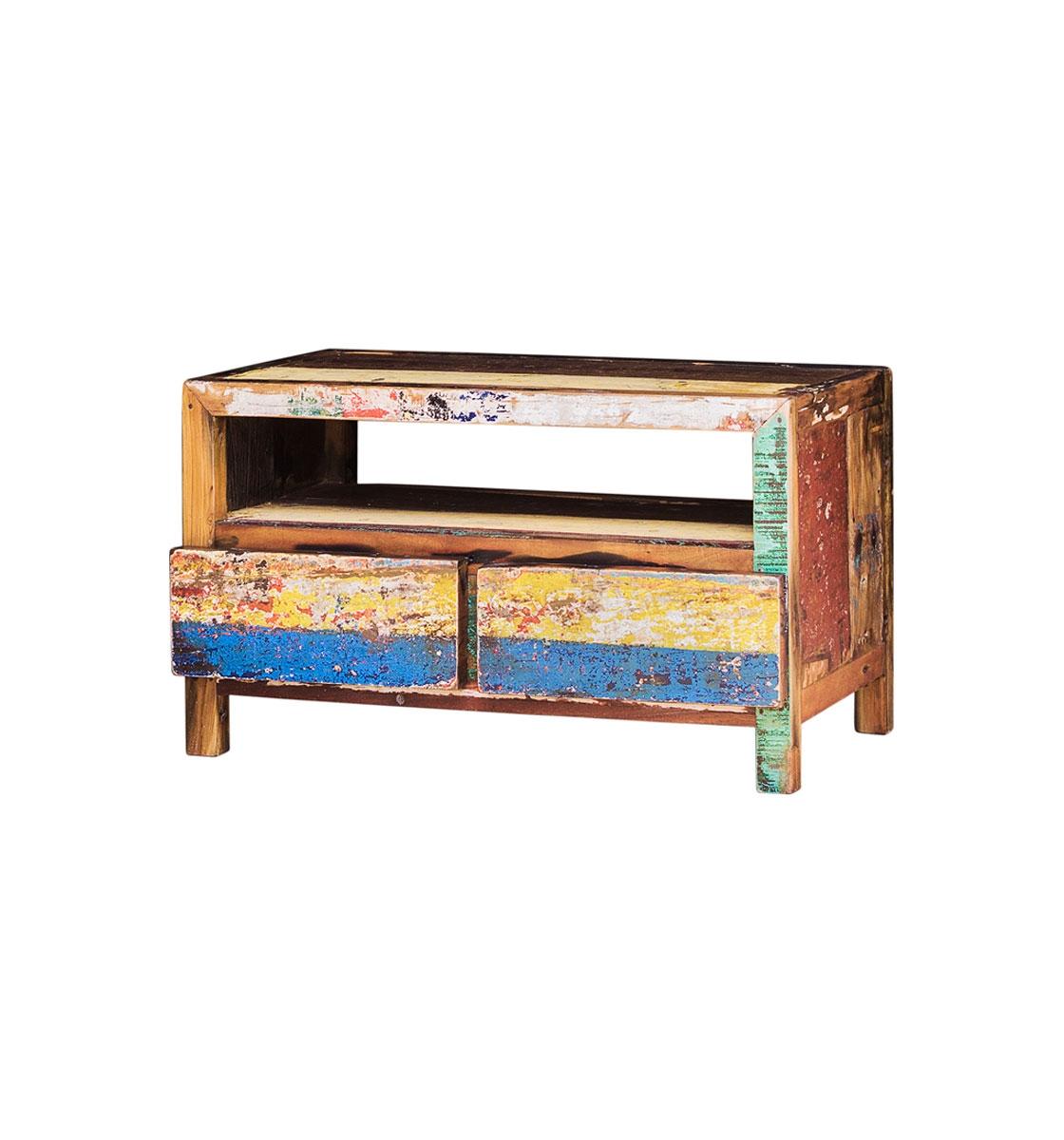 ТВ КонсольТумбы под TV<br>ТВ-консоль, выполненная из старой рыбацкой лодки с сохранением оригинальной многослойной окраски.<br><br>Имеет 2 dвыдвижных ящика и 1 открытую полку. Подходит для использования как ТВ-консоль.<br>Подходит для использования как внутри помещения, так и снаружи.<br>Сборка не требуется.<br><br>Material: Тик<br>Width см: 100<br>Depth см: 50<br>Height см: 60