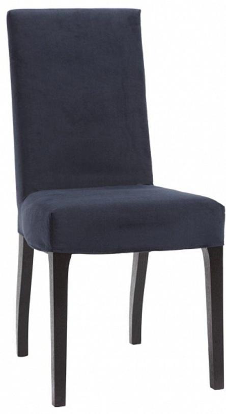 Стул  CarolineОбеденные стулья<br>Мягкий обеденный стул с высокой спинкой выглядит строго и уютно одновременно: тёмно-синяя текстильная обивка (замша) почти сливается по тону с деревянными ножками чёрного цвета, и этот сдержанный колорит и «однотонность» дают модели больше возможностей гармонично сочетаться с другими предметами интерьера.<br><br>Цвет: синий<br>Цвет каркаса: чёрный<br>Материал: деревянный каркас, ткань, поролон<br>Обивка: ткань (замша)<br><br>Material: Текстиль<br>Ширина см: 48<br>Высота см: 95<br>Глубина см: 55