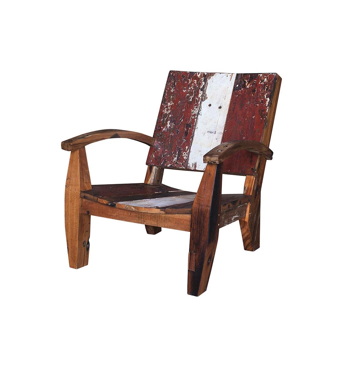 Кресло НьютонКресла для сада<br>Кресло, выполненное из массива древесины старого рыбацкого судна, такой как: тик, махагон, суар, с сохранением оригинальной многослойной окраски.<br><br>С 2 подлокотниками, подходит для работы и отдыха.<br>Подходит для использования как внутри помещения, так и снаружи.<br>Сборка не требуется.<br><br>Material: Тик<br>Width см: 80<br>Depth см: 85<br>Height см: 85