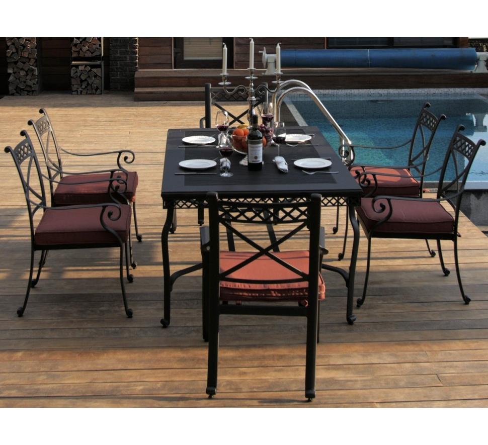 Комплект СИЦИЛИЯКомплекты уличной мебели<br>&amp;lt;div&amp;gt;&amp;lt;span style=&amp;quot;line-height: 24.9999px;&amp;quot;&amp;gt;Литой алюминий является более предпочтительным материалом для садовой мебели, поскольку он не только устойчив к коррозии, но и имеет легкий вес. Такая мебель лучше гармонирует с современными стилями, помимо классики, все чаще встречаются модели оригинального органического и футуристического дизайна. Преимущества мебели - способна выдержать любые капризы природы, можно даже оставить под открытым небом на зиму.&amp;lt;/span&amp;gt;&amp;lt;/div&amp;gt;&amp;lt;div&amp;gt;&amp;lt;span style=&amp;quot;line-height: 24.9999px;&amp;quot;&amp;gt;&amp;lt;br&amp;gt;&amp;lt;/span&amp;gt;&amp;lt;/div&amp;gt;&amp;lt;div&amp;gt;&amp;lt;span style=&amp;quot;line-height: 24.9999px;&amp;quot;&amp;gt;Размер стола: ширина 168 см; глубина 104 см; высота 74 см.&amp;lt;/span&amp;gt;&amp;lt;/div&amp;gt;&amp;lt;div&amp;gt;&amp;lt;span style=&amp;quot;line-height: 24.9999px;&amp;quot;&amp;gt;Размер стульев (6 шт): ширина 60 см; глубина 52 см; высота подлокотников 65 см; высота спинки 93 см.&amp;lt;/span&amp;gt;&amp;lt;/div&amp;gt;<br><br>Material: Алюминий<br>Width см: 168<br>Depth см: 104<br>Height см: 74