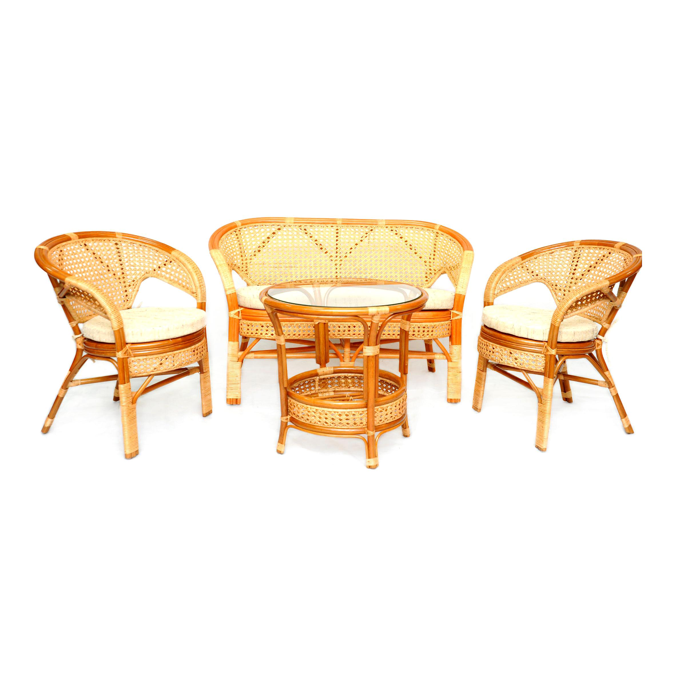 Комплект кофейный ПелангиКомплекты уличной мебели<br>Несмотря на изящное плетение из ротанга, этот комплект мебели может выдерживать большой вес. Важным достоинством является анатомическая спинка и сплошное ротанговое плетение сидения и спинки, что позволяет использовать комплект без подушки.В комплект входят два кресла, диван, мягкие подушки (на сидение), столик со стеклом (вставляется в паз).&amp;lt;div&amp;gt;&amp;lt;br&amp;gt;&amp;lt;/div&amp;gt;&amp;lt;div&amp;gt;Материал каркаса:  натуральный ротанг&amp;lt;/div&amp;gt;&amp;lt;div&amp;gt;Цвет:  коньячный&amp;lt;/div&amp;gt;&amp;lt;div&amp;gt;Мягкая обивка/подушка:  ткань рогожка&amp;lt;/div&amp;gt;&amp;lt;div&amp;gt;Размер: диван 123х70х78 см., кресло 66х70х78 см., стол 61х61х64 см&amp;lt;/div&amp;gt;&amp;lt;div&amp;gt;Выдерживаемая нагрузка, кг:  100.&amp;lt;/div&amp;gt;<br><br>Material: Ротанг<br>Ширина см: 123<br>Высота см: 78<br>Глубина см: 70