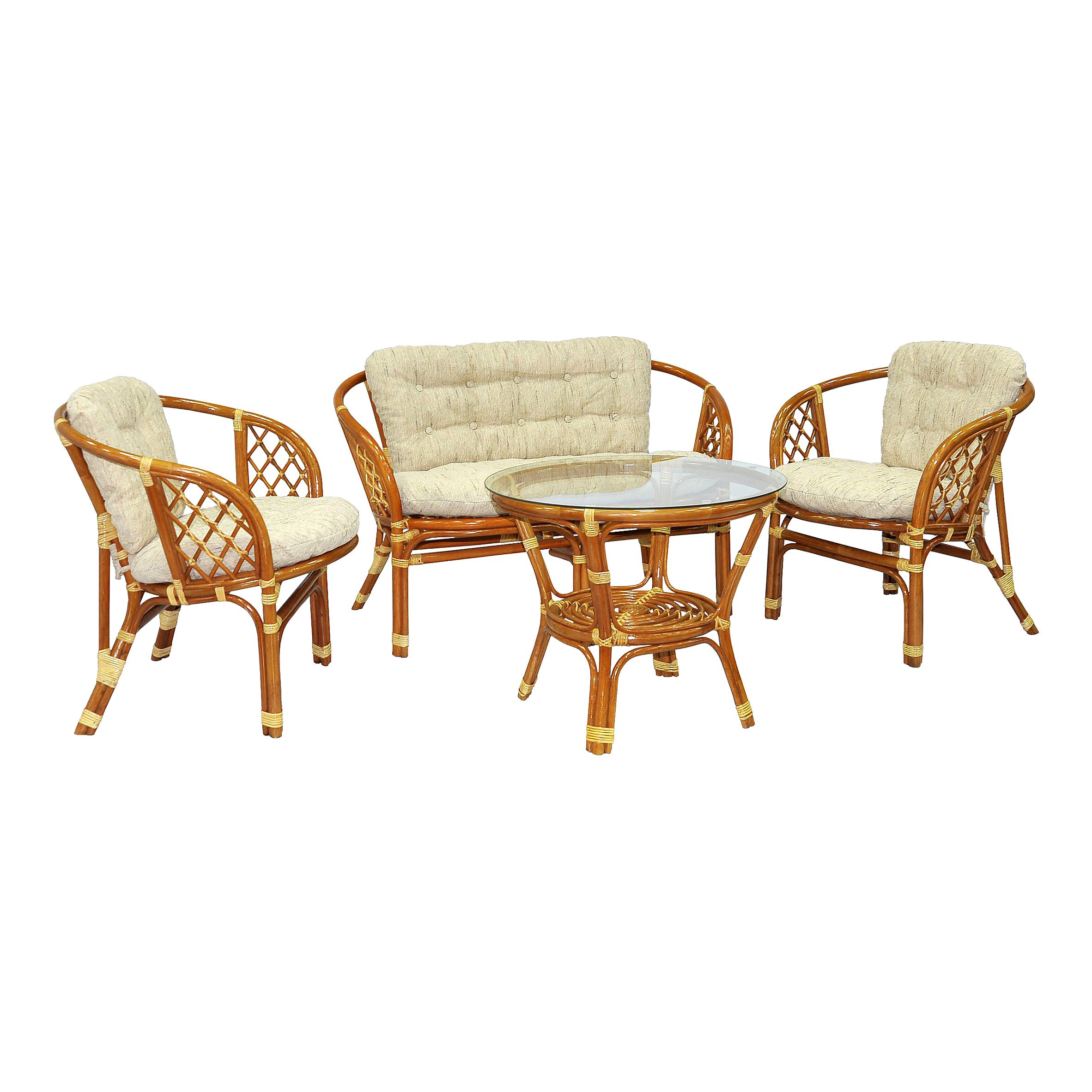 Комплект кофейный БагамаКомплекты уличной мебели<br>Преимуществом данного комплекта  являются широкие и удобные кресла.<br>В комплект входят два кресла, диван, мягкие подушки (на спинку и сидение), столик со стеклом на присосках.&amp;amp;nbsp;&amp;lt;div&amp;gt;&amp;lt;br&amp;gt;&amp;lt;/div&amp;gt;&amp;lt;div&amp;gt;Материал каркаса:  натуральный ротанг&amp;lt;/div&amp;gt;&amp;lt;div&amp;gt;Цвет:  коньячный&amp;lt;/div&amp;gt;&amp;lt;div&amp;gt;Мягкая обивка/подушка:  ткань рогожка&amp;lt;/div&amp;gt;&amp;lt;div&amp;gt;Размер: столик со стеклом 68х56х68 см, кресло 72х65х75 см,  диван 120х65х75 см&amp;amp;nbsp;&amp;lt;/div&amp;gt;&amp;lt;div&amp;gt;Выдерживаемая нагрузка, кг:  90&amp;lt;/div&amp;gt;<br><br>Material: Ротанг<br>Ширина см: 120<br>Высота см: 65<br>Глубина см: 75