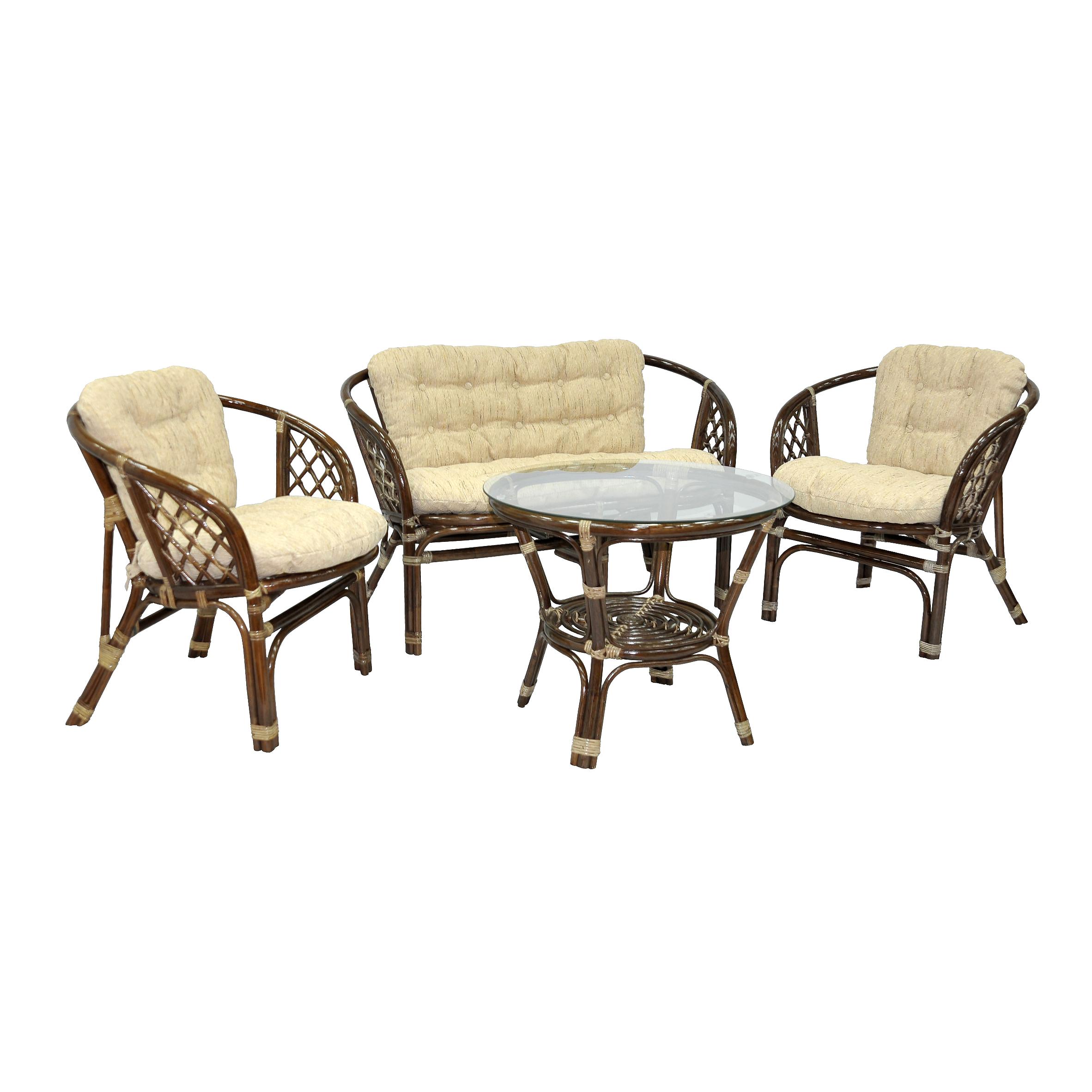 Комплект кофейный БагамаКомплекты уличной мебели<br>&amp;lt;span style=&amp;quot;line-height: 24.9999px;&amp;quot;&amp;gt;Преимуществом данного комплекта являются широкие и удобные кресла. В комплект входят два кресла, диван, мягкие подушки (на спинку и сидение), столик со стеклом на присосках.&amp;amp;nbsp;&amp;lt;/span&amp;gt;&amp;lt;div style=&amp;quot;line-height: 24.9999px;&amp;quot;&amp;gt;&amp;lt;br&amp;gt;&amp;lt;/div&amp;gt;&amp;lt;div style=&amp;quot;line-height: 24.9999px;&amp;quot;&amp;gt;Материал каркаса: натуральный ротанг&amp;lt;/div&amp;gt;&amp;lt;div style=&amp;quot;line-height: 24.9999px;&amp;quot;&amp;gt;Цвет: коричневый&amp;lt;/div&amp;gt;&amp;lt;div style=&amp;quot;line-height: 24.9999px;&amp;quot;&amp;gt;Мягкая обивка/подушка: ткань рогожка&amp;lt;/div&amp;gt;&amp;lt;div style=&amp;quot;line-height: 24.9999px;&amp;quot;&amp;gt;Размер: столик со стеклом 68х56х68 см, кресло 72х65х75 см, диван 120х65х75 см&amp;amp;nbsp;&amp;lt;/div&amp;gt;&amp;lt;div style=&amp;quot;line-height: 24.9999px;&amp;quot;&amp;gt;Выдерживаемая нагрузка, кг: 90&amp;lt;/div&amp;gt;<br><br>Material: Ротанг<br>Width см: 120<br>Depth см: 65<br>Height см: 75