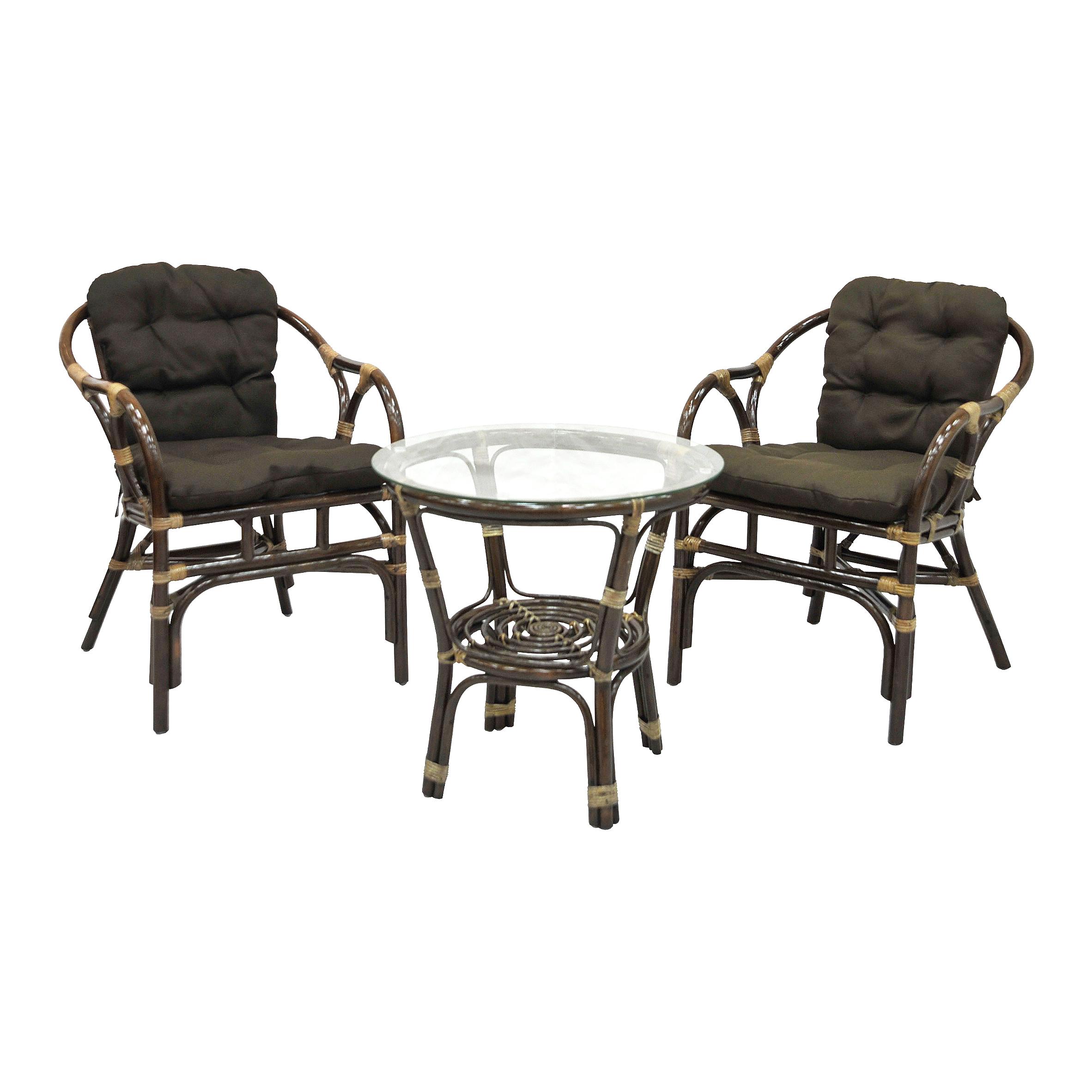 Комплект Terrace SetКомплекты уличной мебели<br>Комплект очень компактный и идеально подходит для небольших помещений. При этом комплект очень удобный, с  простым и лаконичным дизайном. В комплект входят два кресла, мягкие подушки (на сидение), столик со стеклом (на присосках).&amp;lt;div&amp;gt;&amp;lt;br&amp;gt;&amp;lt;/div&amp;gt;&amp;lt;div&amp;gt;Материал каркаса:  натуральный ротанг&amp;lt;/div&amp;gt;&amp;lt;div&amp;gt;Цвет: коричневый&amp;amp;nbsp;&amp;lt;/div&amp;gt;&amp;lt;div&amp;gt;Мягкая обивка/подушка:  ткань твил&amp;lt;/div&amp;gt;&amp;lt;div&amp;gt;Размер: столик со стеклом 55х55х55 см,  кресло 58х62х75 см&amp;lt;/div&amp;gt;&amp;lt;div&amp;gt;Выдерживаемая нагрузка, кг:  90&amp;lt;/div&amp;gt;<br><br>Material: Ротанг<br>Width см: 58<br>Depth см: 62<br>Height см: 75