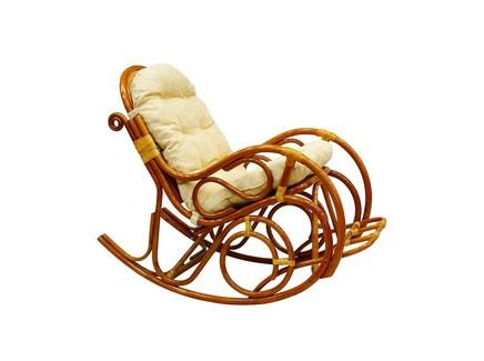 Кресло-качалка с подножкой из ротанга (ecogarden) коричневый 58x99x128 см.