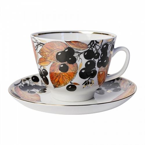 Чашка с блюдцем чайная Черноплодная рябинаЧайные пары и чашки<br>Объем: 350 мл.<br><br>Material: Фарфор