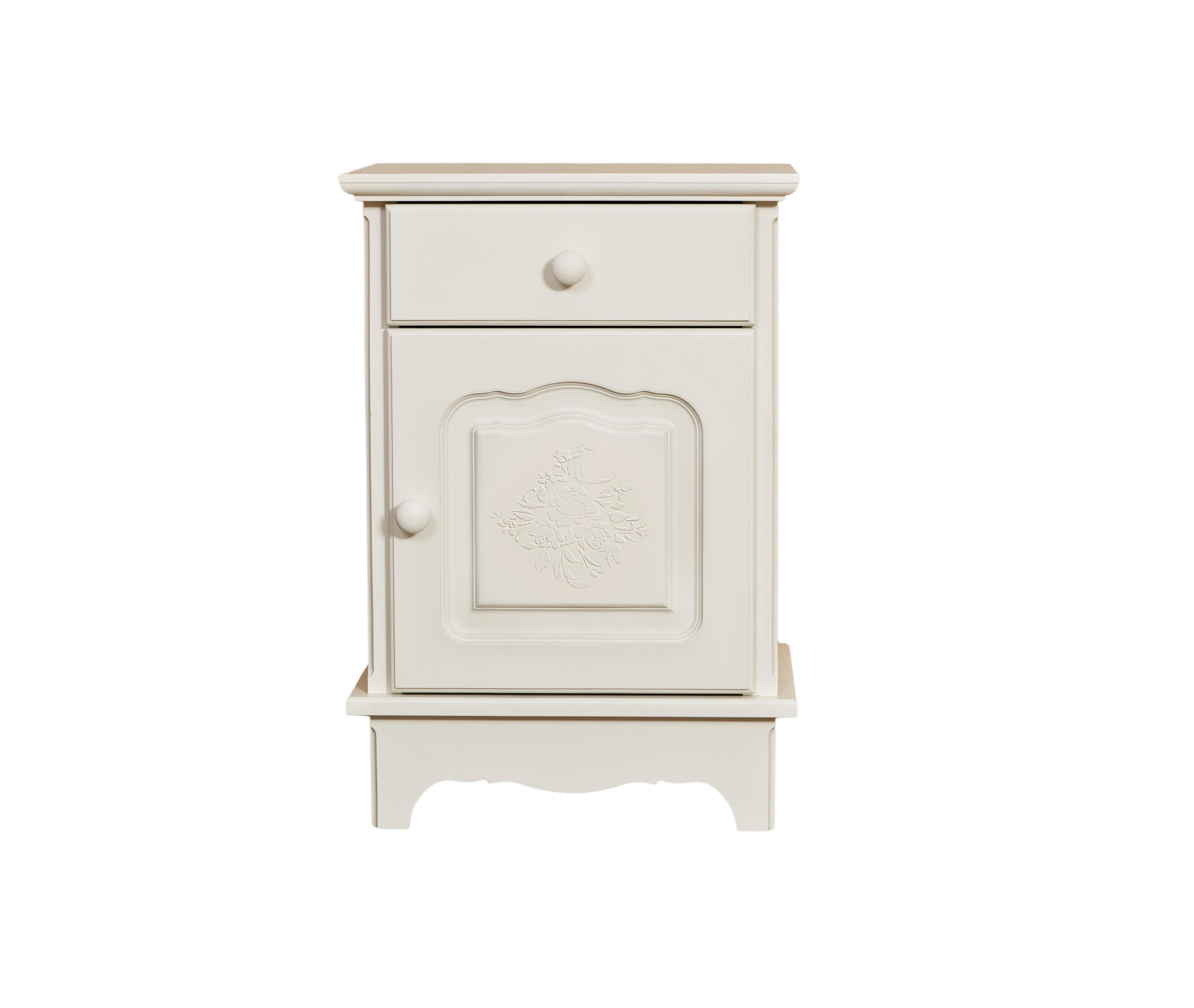 Тумбочка Belle Fleur BlancПрикроватные тумбы, комоды, столики<br>Отделка: Belle Fleur Blanc - объемный орнамент из роз белого цвета.&amp;amp;nbsp;<br><br>Material: Береза<br>Width см: 45<br>Depth см: 32,5<br>Height см: 65
